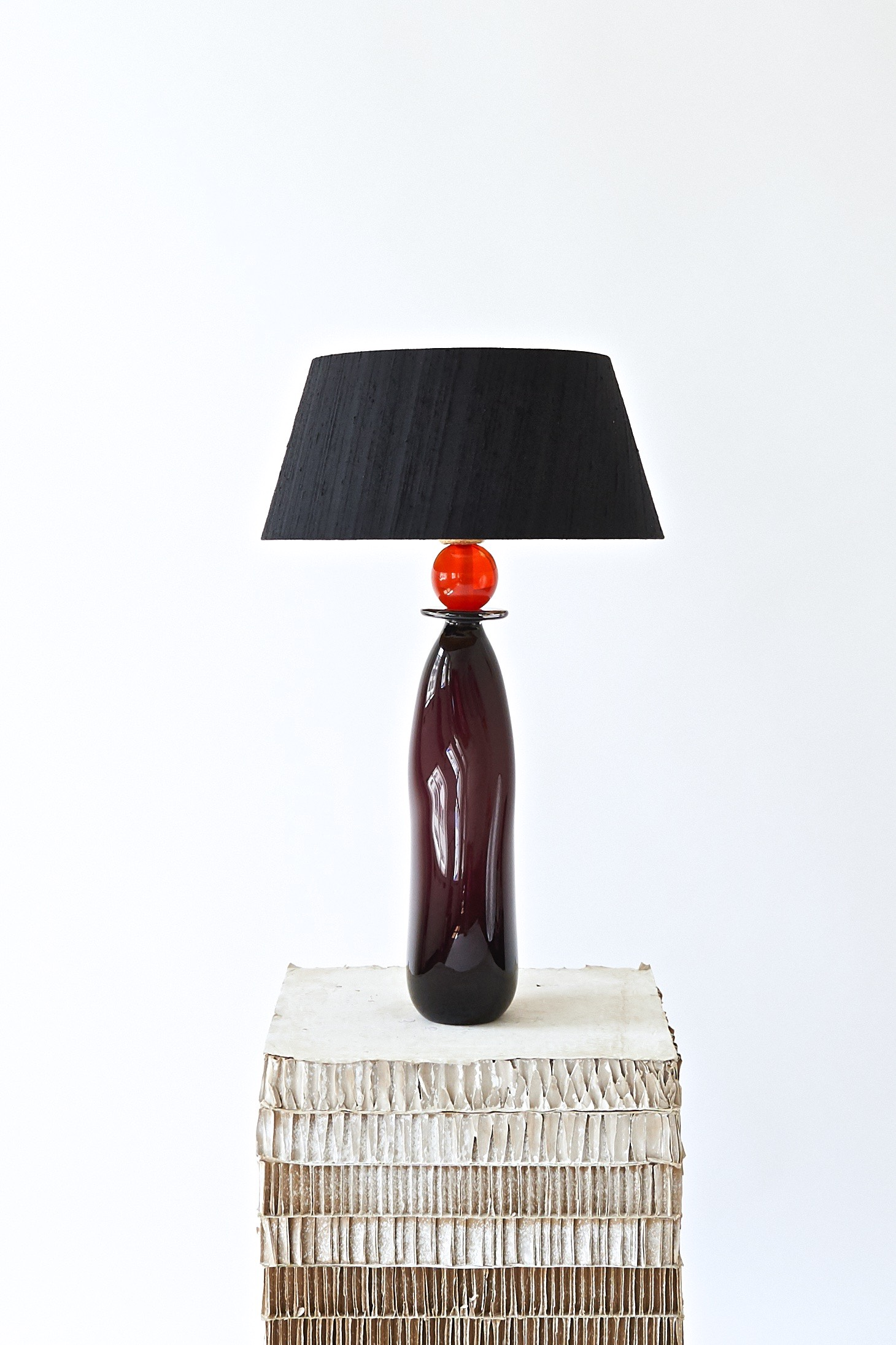#97  2019   Murano glass opaque, bronze,  light bulb, electrified 55 cm (without shade)