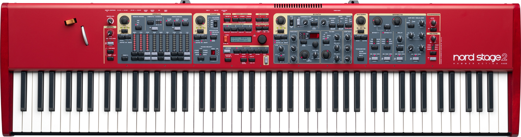 Nord Stage 2 - A legendary electric piano and synthesizer specializing in all types of grand piano, Wurlitzer, Rhodes and organ emulations along with a full editable synthesizer section.