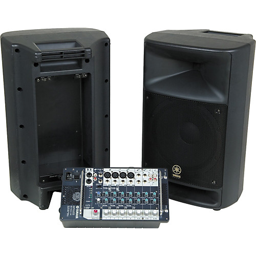 "Yamaha Stagepas - 2 Passive 12"" x 1"" cabinets with built-in removable powered mixer."