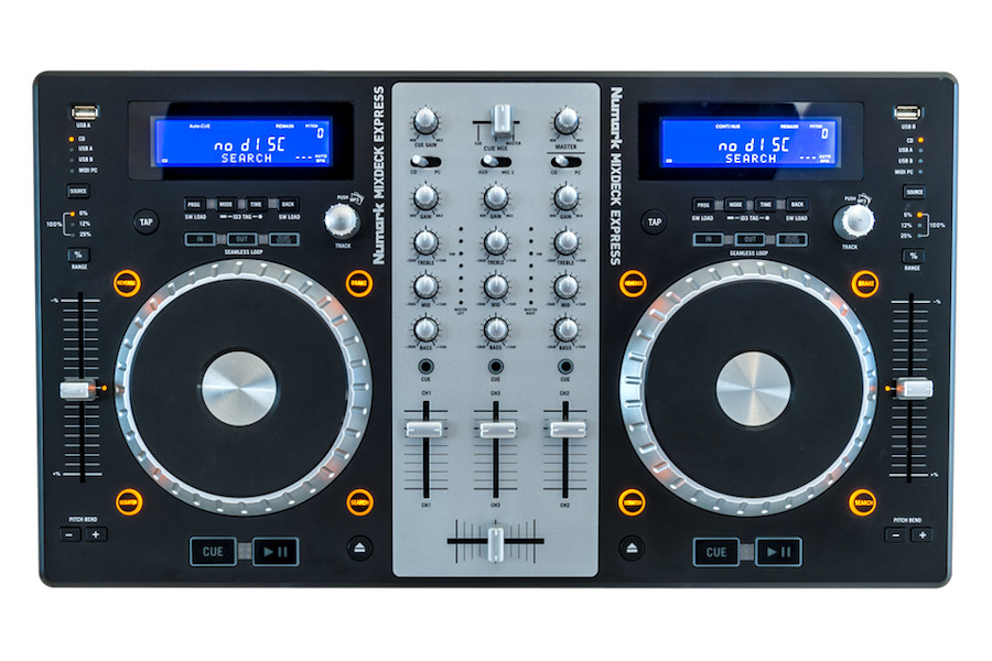 Numark MixDeck Express - 3-channel CD mixer with USB and RCA inputs and 3-band EQ on each channel.