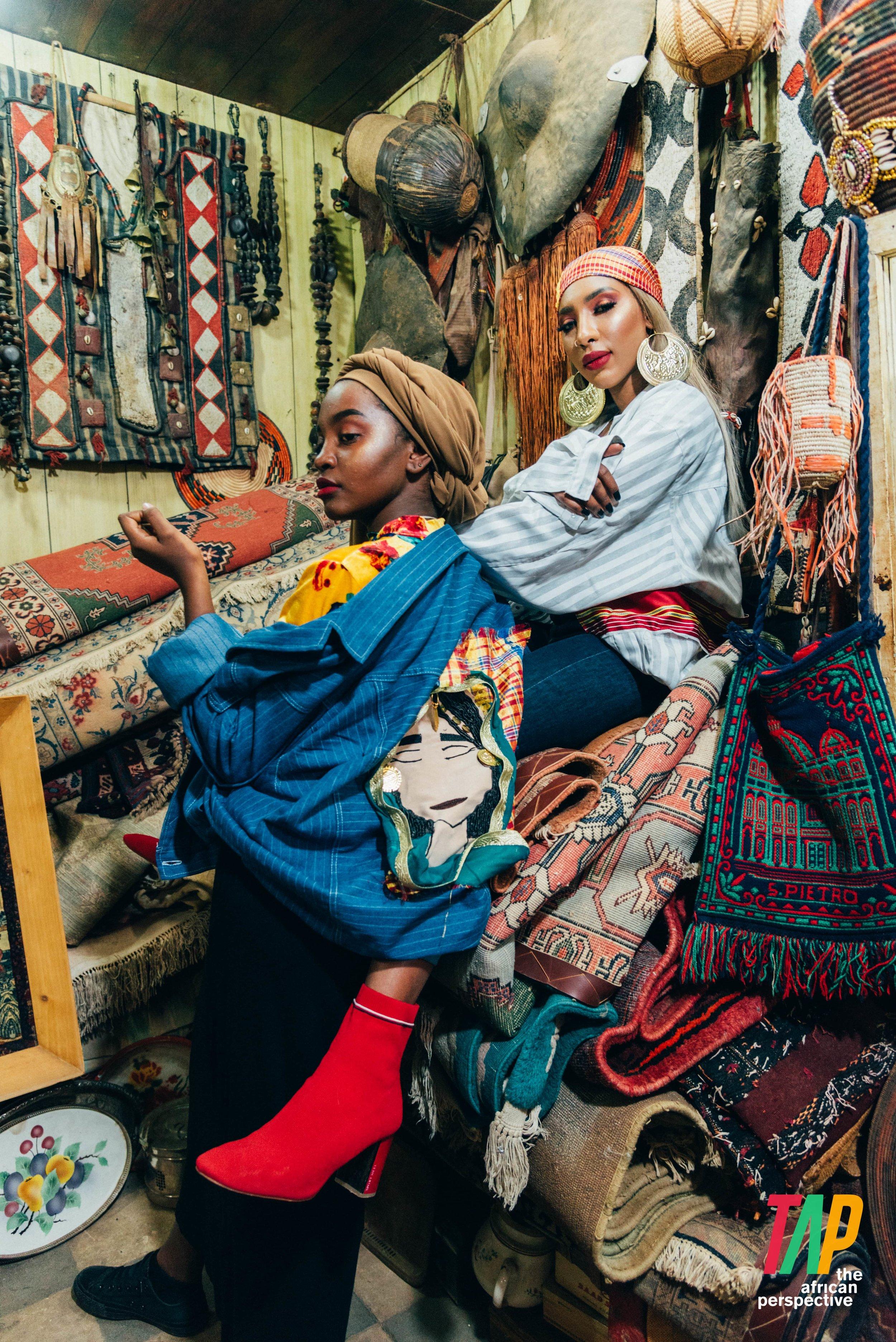 Models sporting jackets by designer Sahar Arrayeh