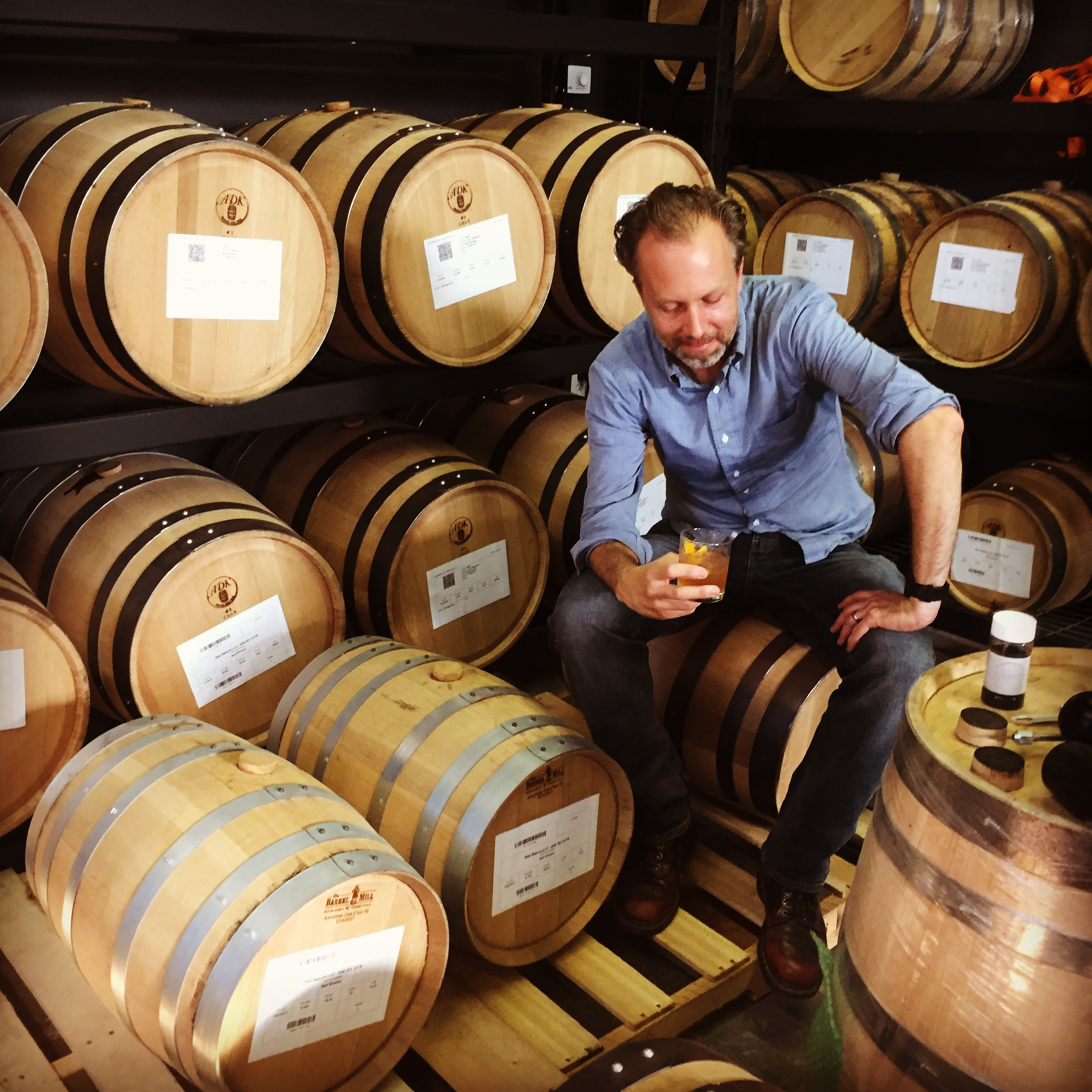 Gil Spaier, Founder and Distiller with Adirondack Barrel Cooperage Barrels, in the All Points West Barrel Room.
