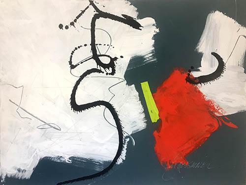 "Barbara Burgess Maier: ""All You Need Is...Joy."" (""Calder & Miró Dancing at LaCoupole,"") mixed media on canvas, 36"" x 48""."