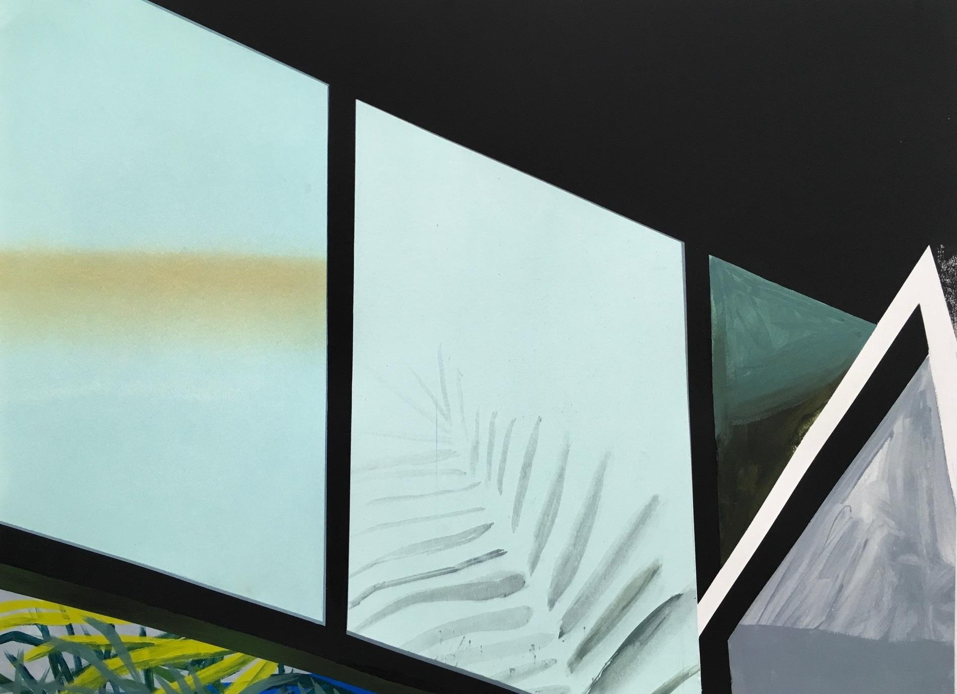 "Bodega (at night)  Acrylic, gouche, graphite, silkscreen on paper 30x22"""