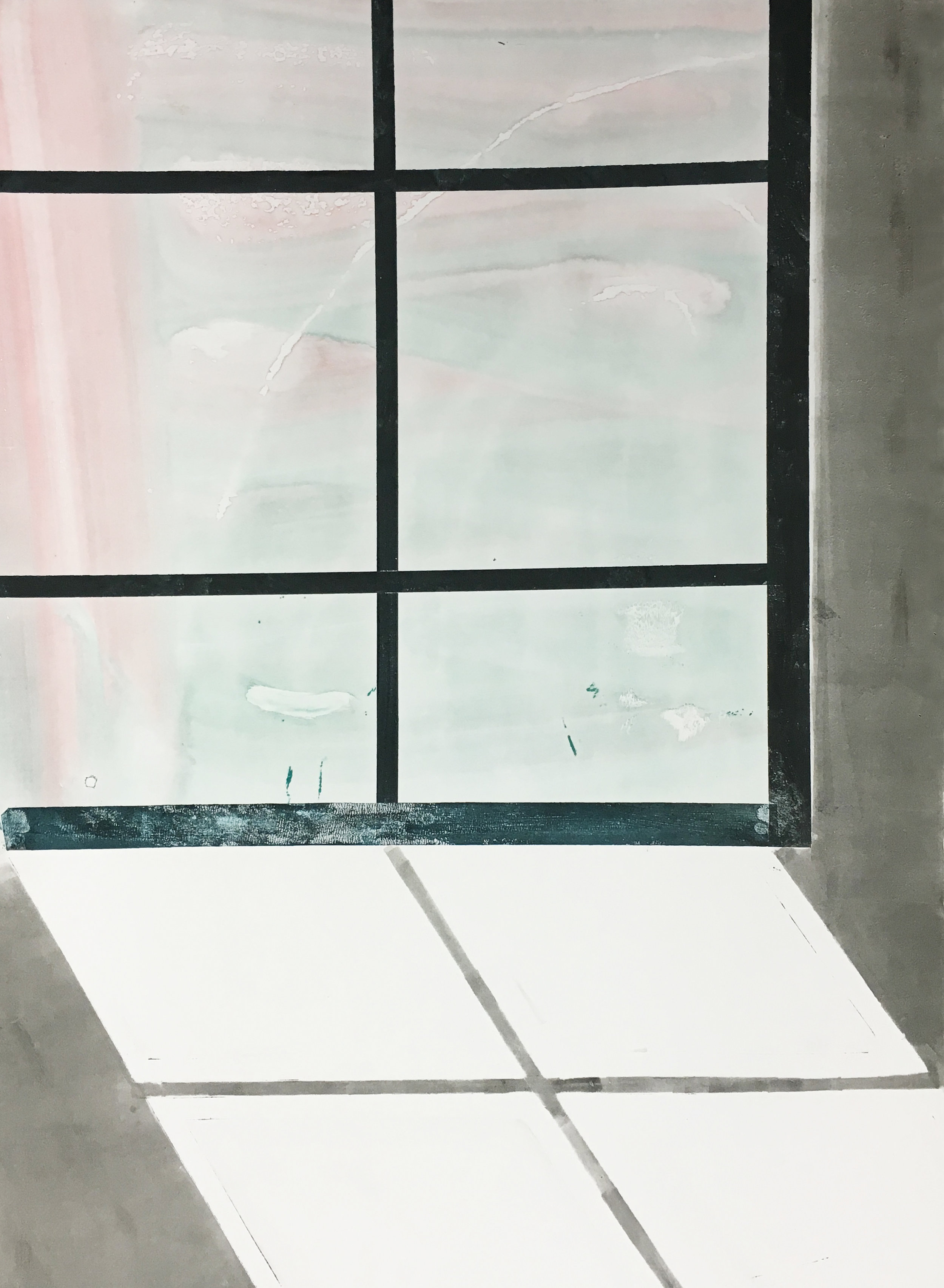 """Kitchen Window  Watercolor and oil monotype on paper 22x30"""""""