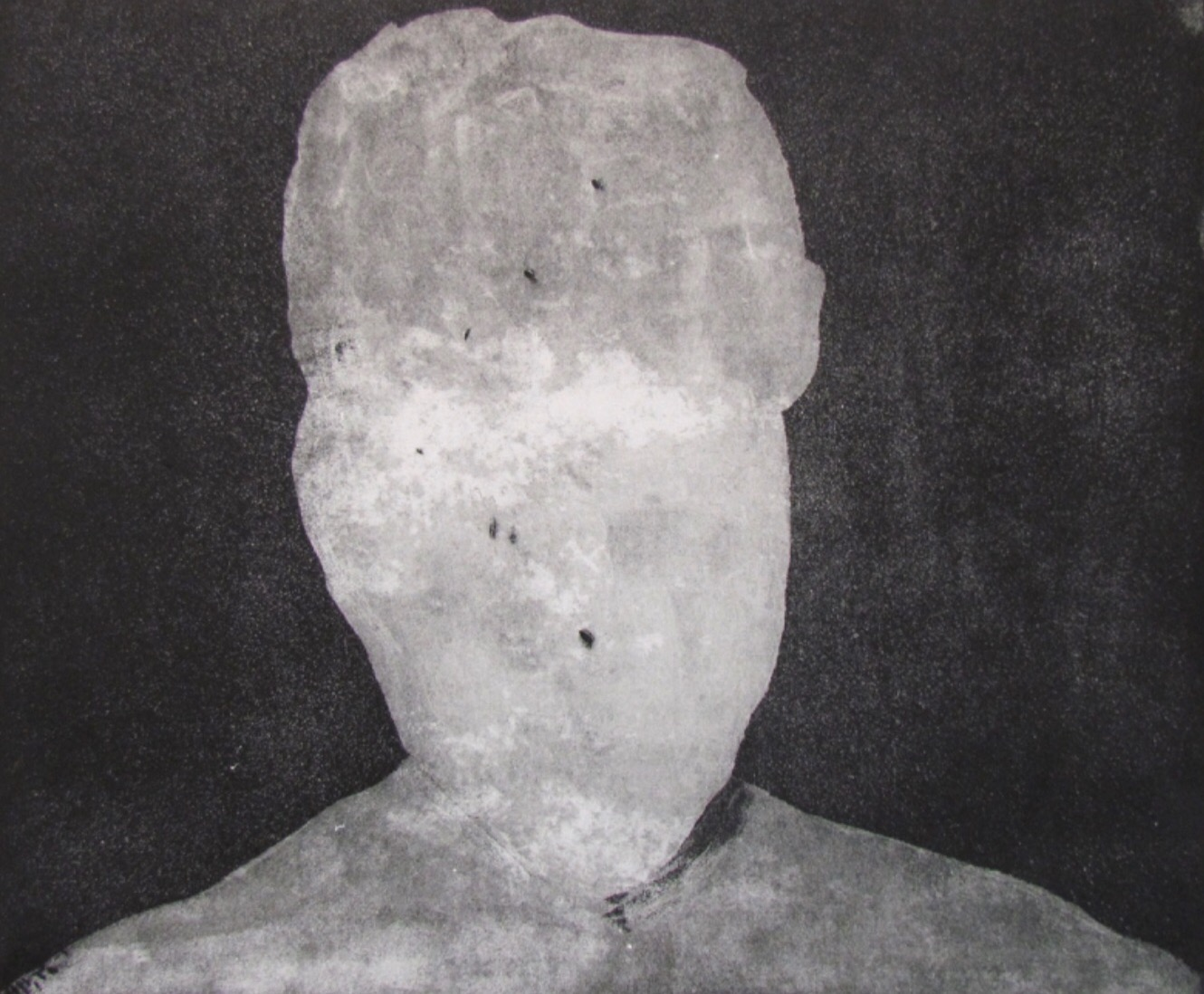 """Untitled   Etching, aquatint, white ground on paper  18x24"""" image area  2014"""