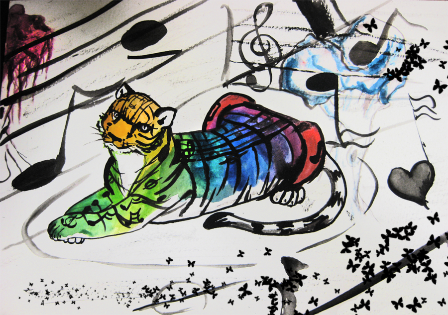 Rainbow Tiger, Watercolor, 2007