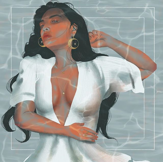 Underwater. I cheated a little bit with the water brush. I really like how I've gotten the hang of digital painting! Wish I had those earrings! 🌌 . . . #Procreate #illustration #Illustrator #art #artist #digitalart #digitalportrait #digitalillustrator #water #aesthetic #designer #design #fashion #fashionillustration