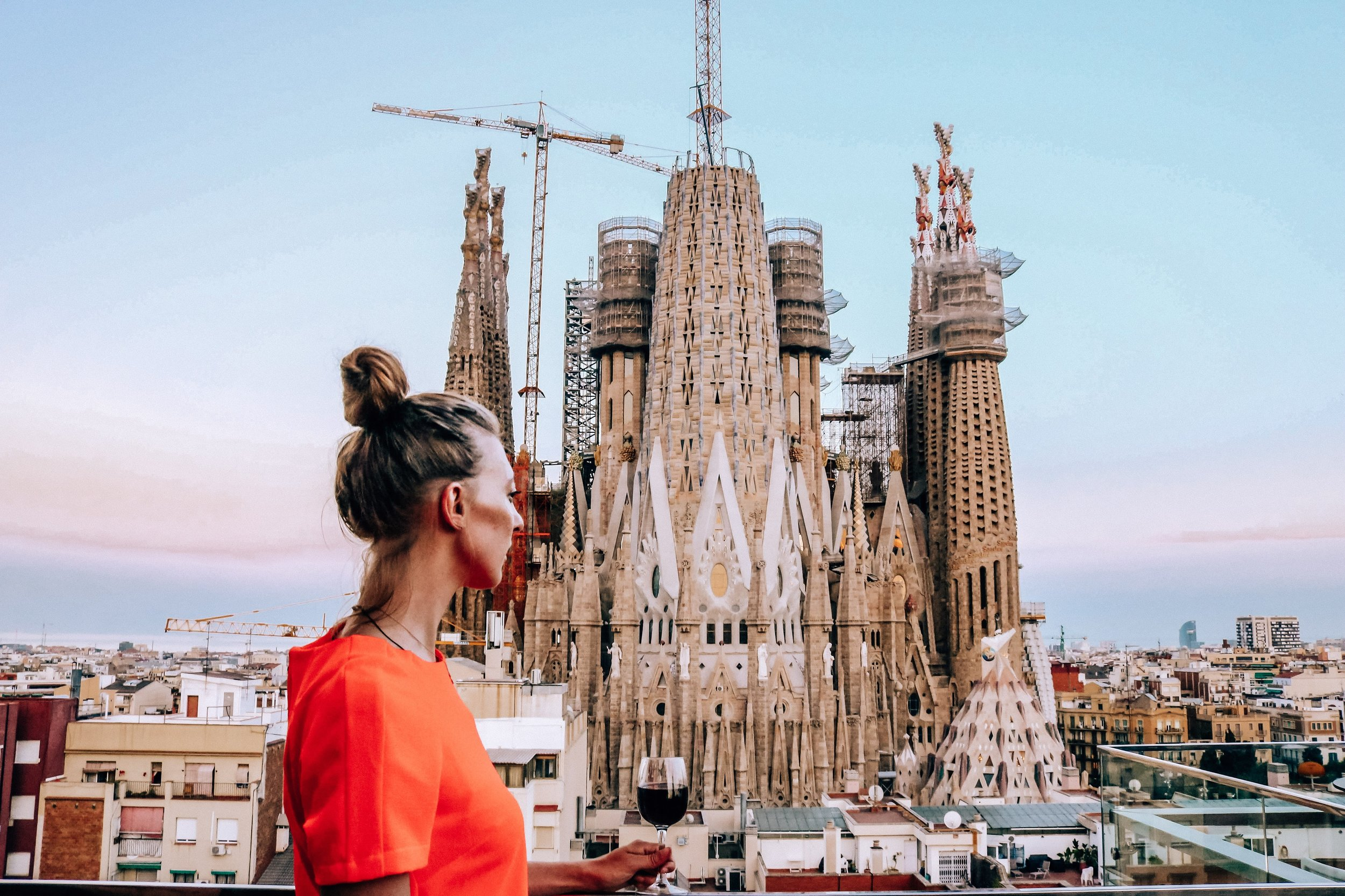 Rooftop views of La Sagrada Familia Barcelona