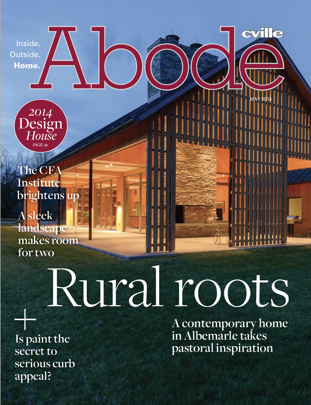 Our masonry work on this outdoor fireplace featured in Abode Magazine.