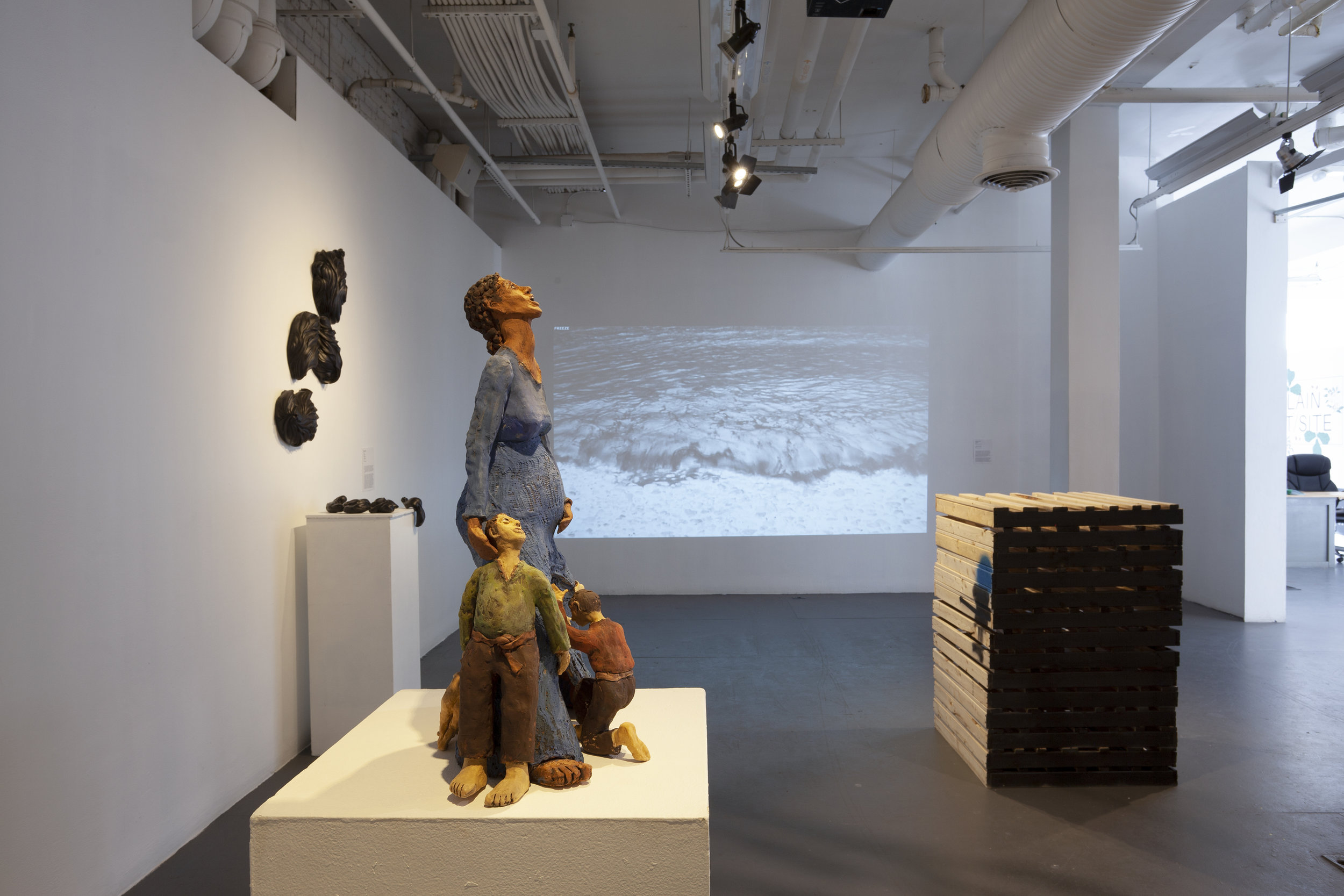 From the exhibition,  In Plain Sight/Site.  Photographer: Jessica Smolinksi. Artists from left to right: Maya Vivas, Jocelyn Braxton Armstrong, Deborah Jack, Tariku Shiferaw.