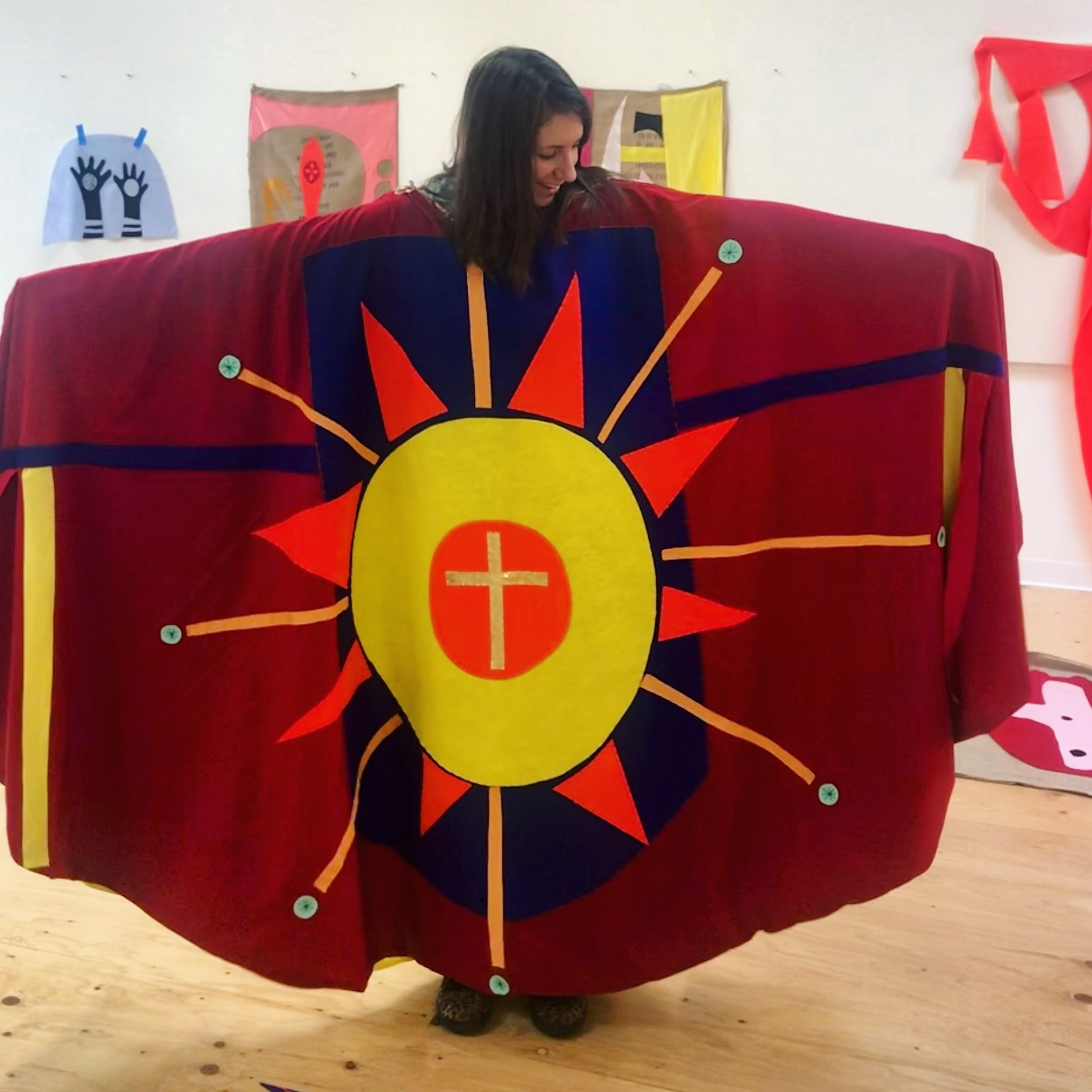 Inside the  Anti-Deportation Cape  at Megan Craig's Studio, January 2019.