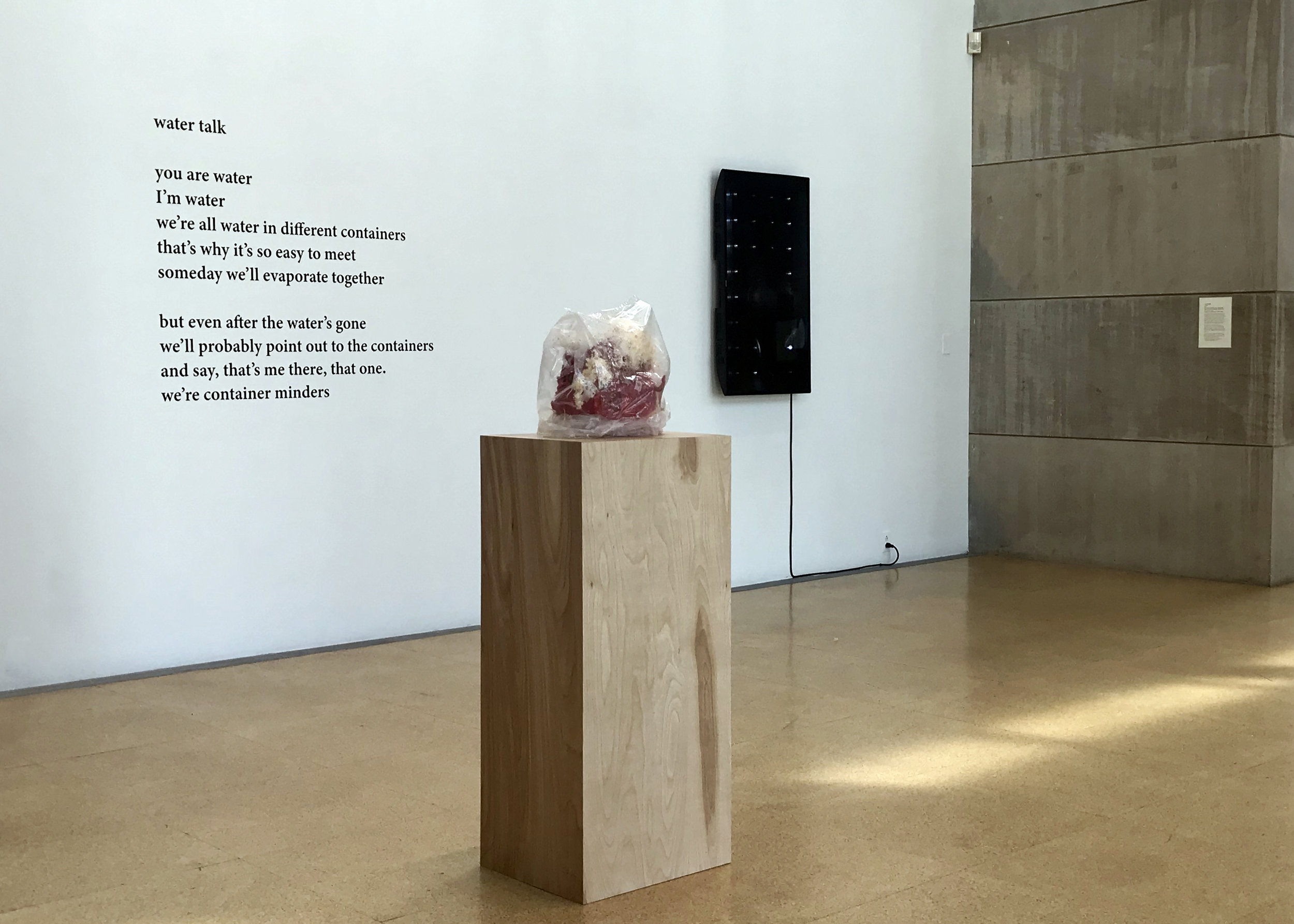 Audible Bacillus  installation view with Yoko Ono, Candice Lin, and Josh Tonsfeldt (left to right). Image: J. Gleisner.