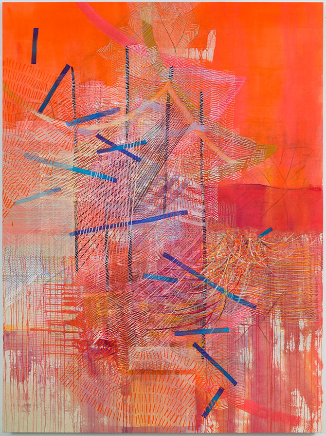 Alyse Rosner,  Lilt (orange),  2019. 63 x 47 inches graphite and fluid acrylic on raw canvas.