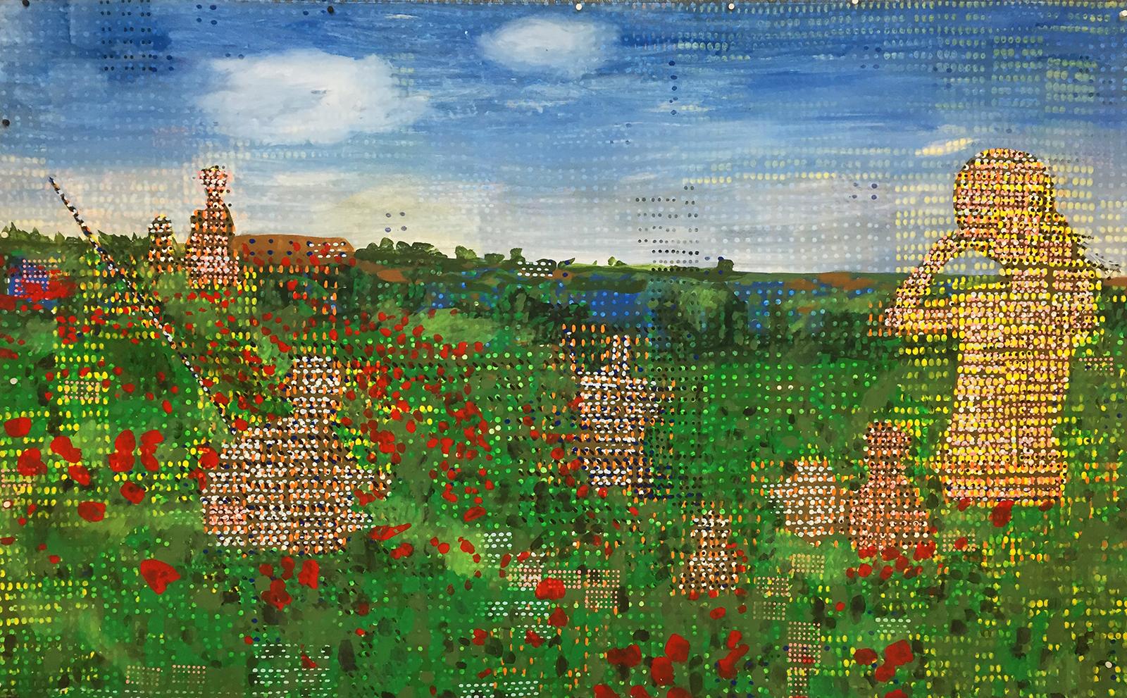 "Jeff Ostergren, Poppy Fields (Afghanistan, Allergies, Argenteuil), (2019). Oxycontin, Viagra, Claritin, Luvox, Strattera, Jolessa, Zoloft, Sudafed, Roundup Weed Killer, and Acrylic on Kevlar Ballistic Fabric, 60"" x 96"""