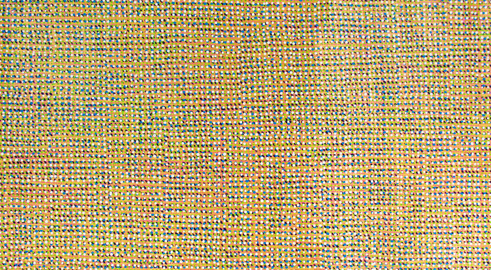 "Jeff Ostergren, Reproduction (2019). Oxycontin, Viagra, Claritin, Luvox, Jolessa, and Acrylic on Kevlar Ballistic Fabric, 51"" x 90.5"""