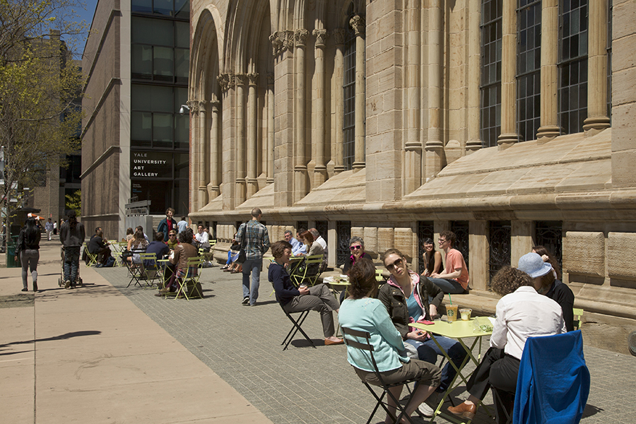 Bistro tables at the Yale University Art Gallery, photo by Jessica Smolinski.