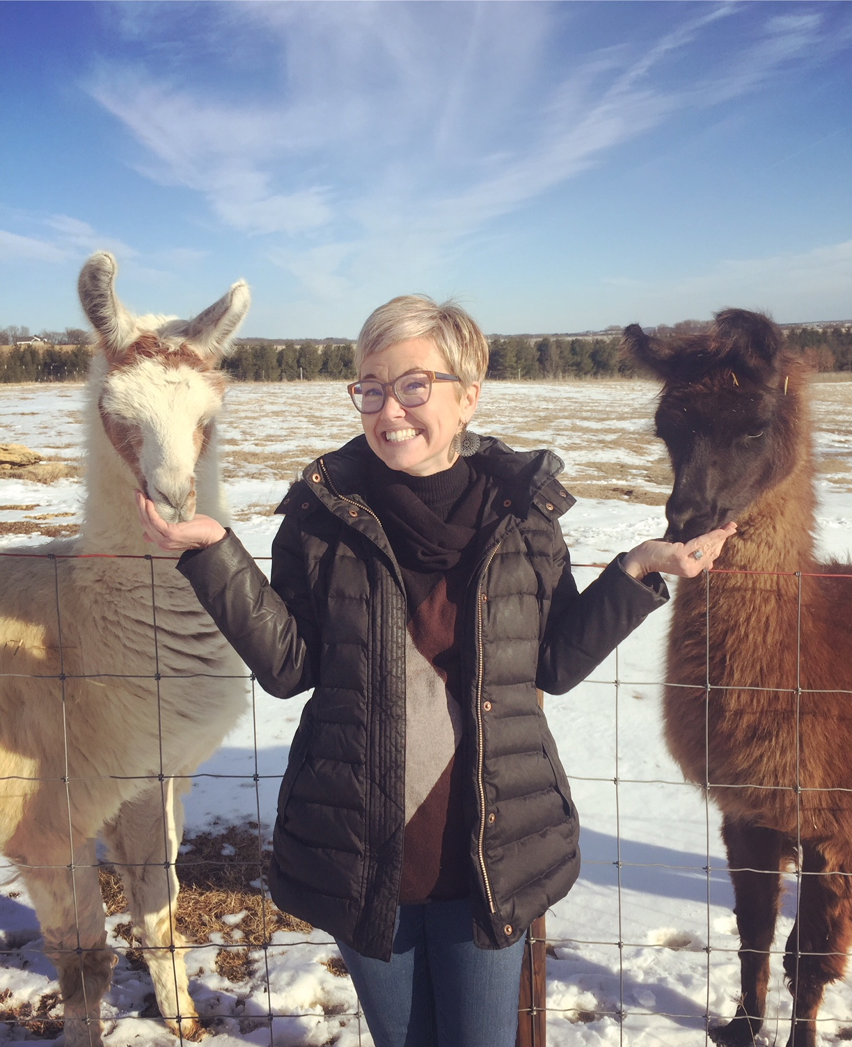 Jen Korz, executive director with two llamas- Mick and Thor.