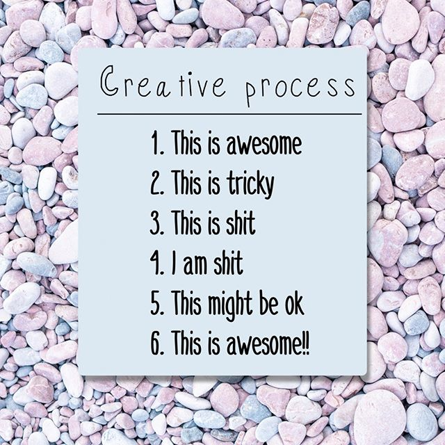 """Raise your hand if you've been here before 🙋🏻♀️🙋🏽♀️🙋🏾♀️. Raise two hands if you continue to get stuck on #3 or #4. There's nothing easy about the creative process, and it's often filled with moments of doubt and frustration. Not to mention, the added pressure to create something worthy of generating """"likes"""" and """"engagement"""" from your followers.   Remember to give yourself the *space* to let your creative ideas run wild. A space free from judgement or filters (obvi we're referring to the mental kind, not the IG kind).   Your art, whatever that form may take, is more important than anything else. Never lose sight of what inspired you to create in the first place 💙"""