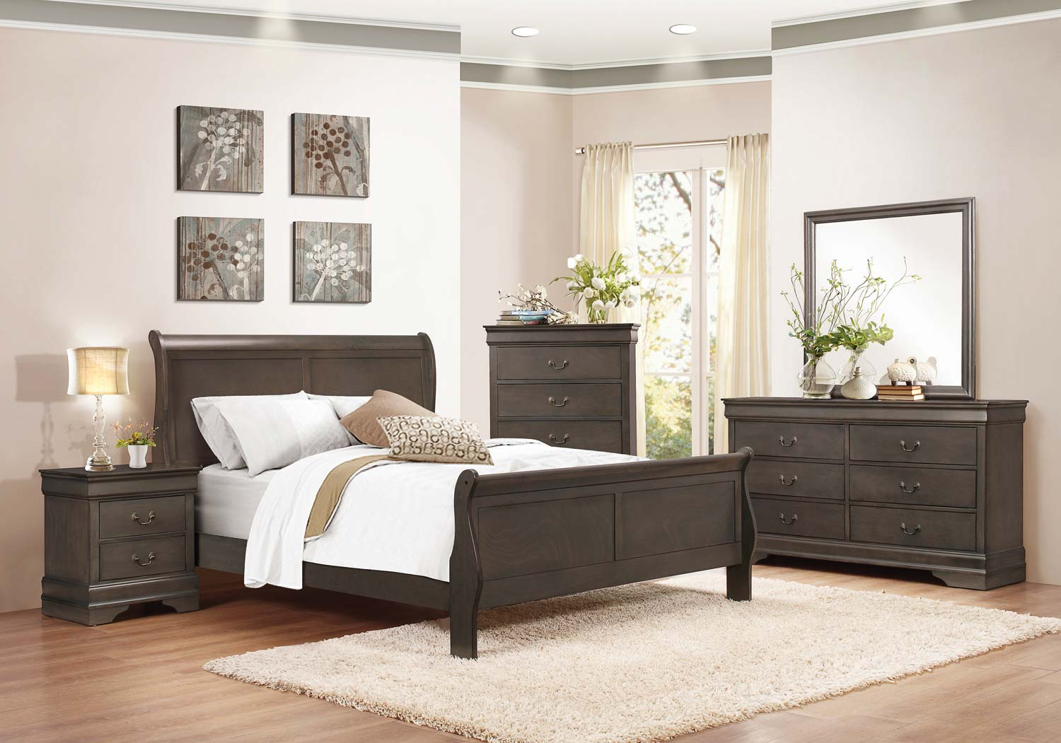 7Pc Queen Bedroom $799 - Available in White, Gray, Black and Cherry