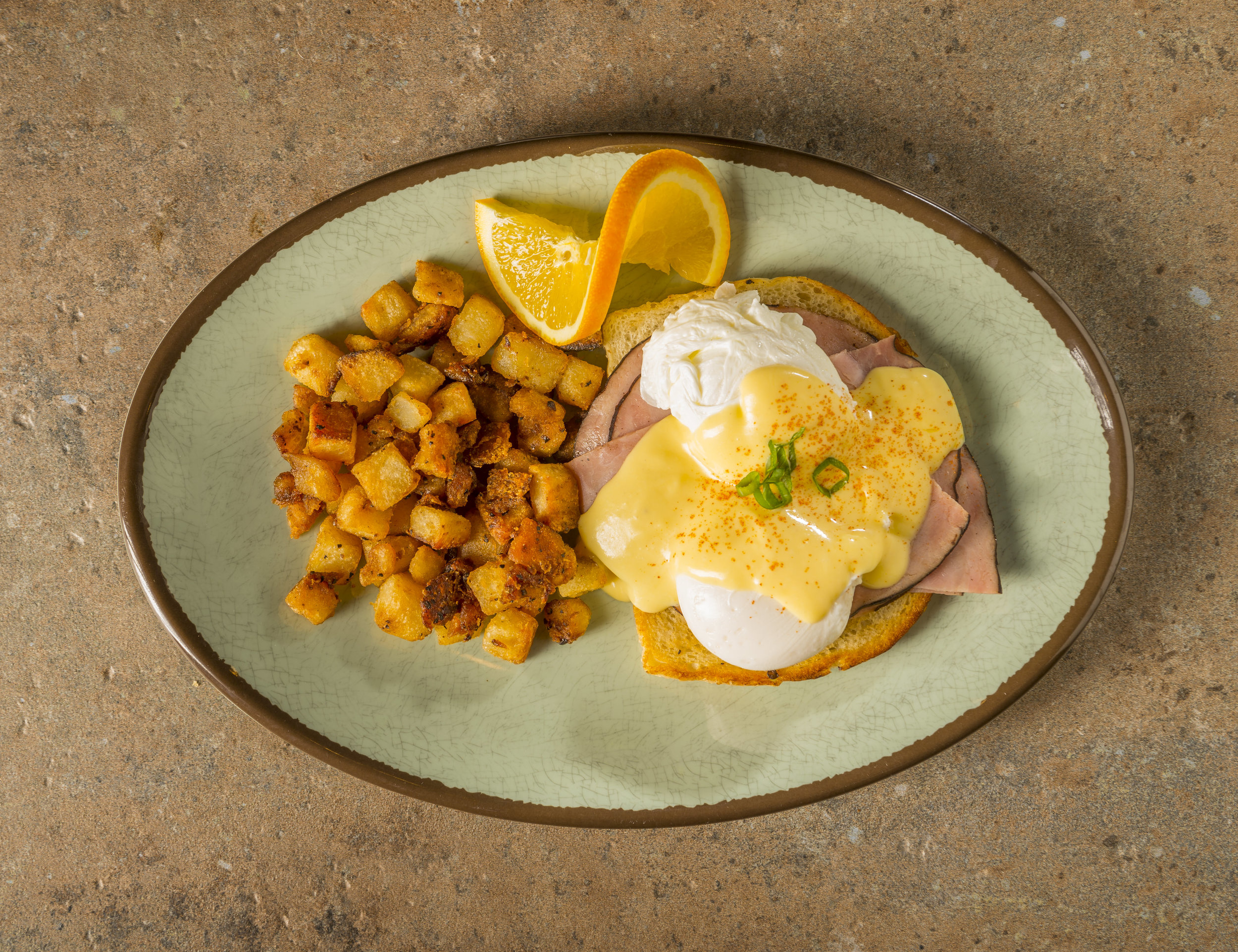 Classic Benedict - Black Forest ham, poached eggs, green onion, paprika, and Hollandaise on FTH sourdough.$9.99