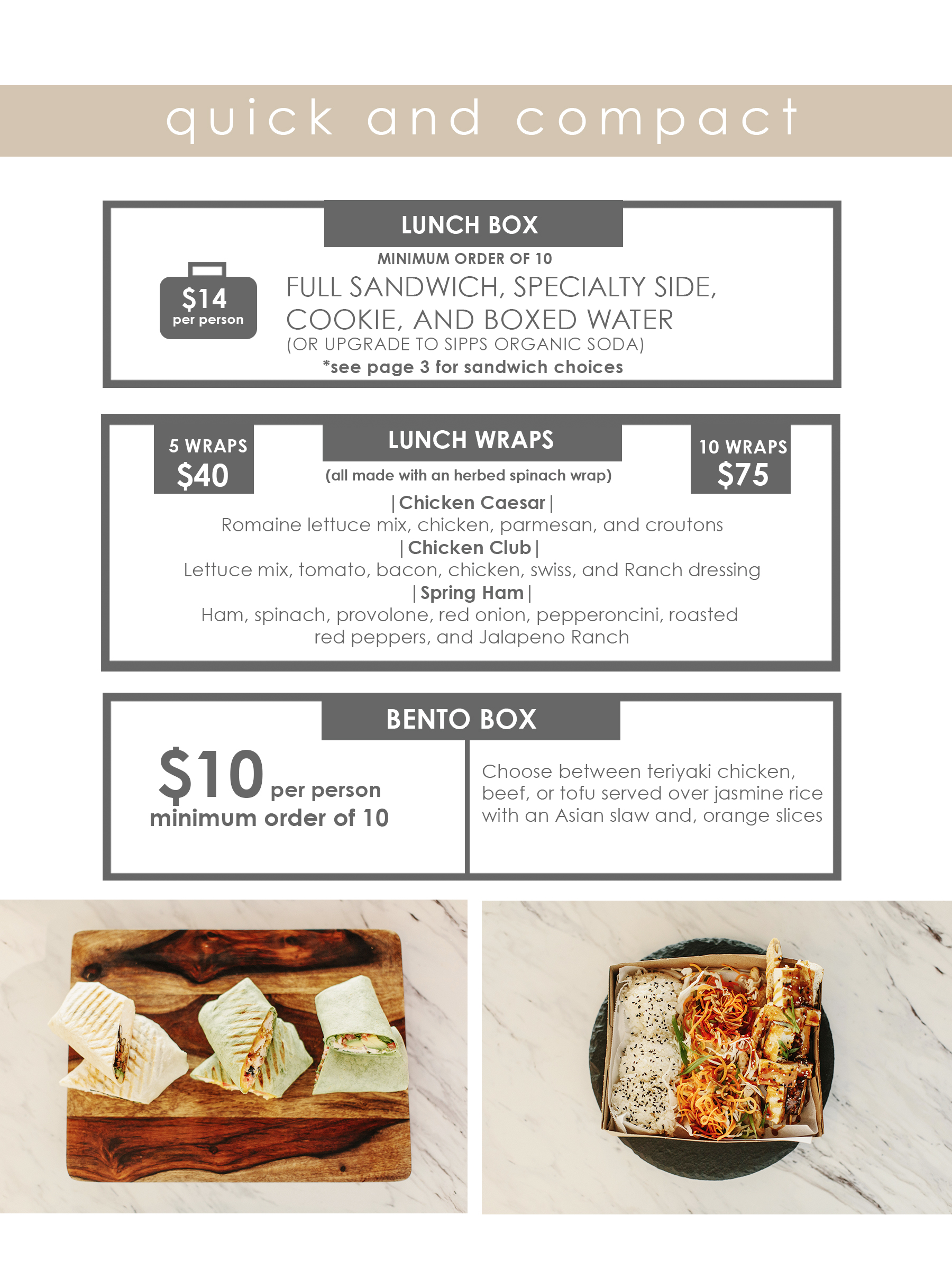 LUNCH BOXES AND WRAPS