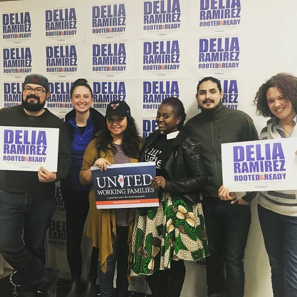 Ryan (second from left) with Delia Ramirez (third from left) and UWF Organizing Director Candis Castillo (third from right) on the 2018 campaign.