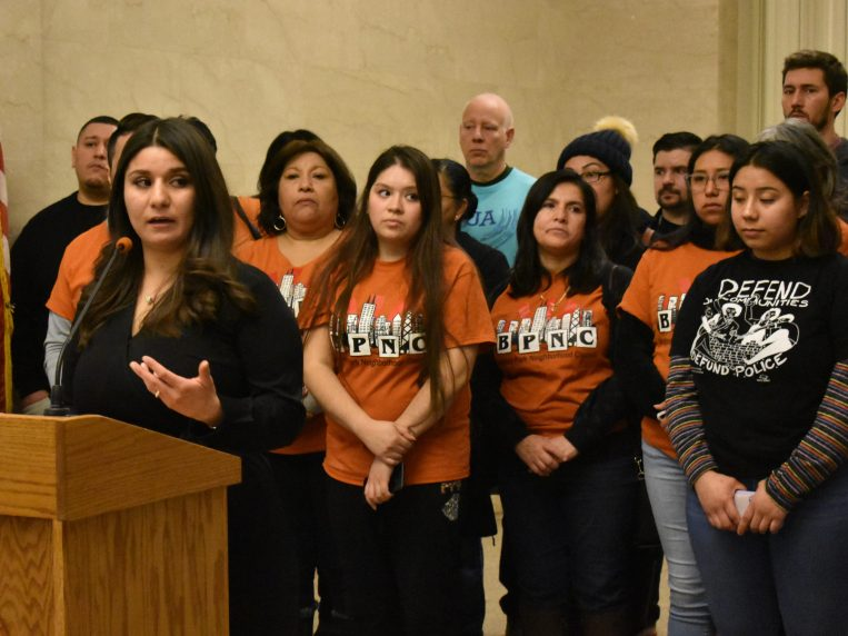 Commissioner Alma Anaya speaking at a press conference to #ErasetheDatabase. Commissioner Anaya introduced the ordinance to stop the gang database in her first month in office. Picture from the Chicago Sun-Times.