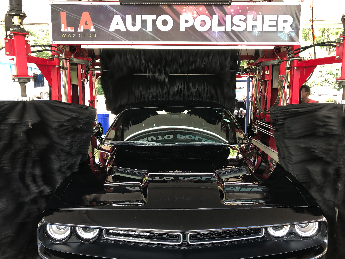 Black Dodge Challenger getting polished and nanowaxed at LA Wax Club - Birmingham
