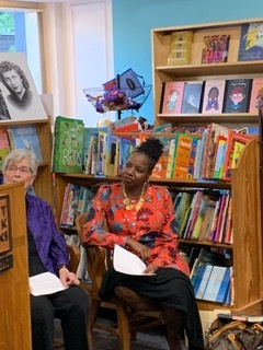 "June 13 Panel Discussion at left bank books - Laketa Jefferson, (right), had this question for women in their 60s: ""As a woman in my 40s, I'm seeking advice on how to become patient as you are striving to advance yourself professionally. I feel that patience is something I struggle with while waiting for success as I climb. At times I seem to be so close, but just somehow unable to grab it."""