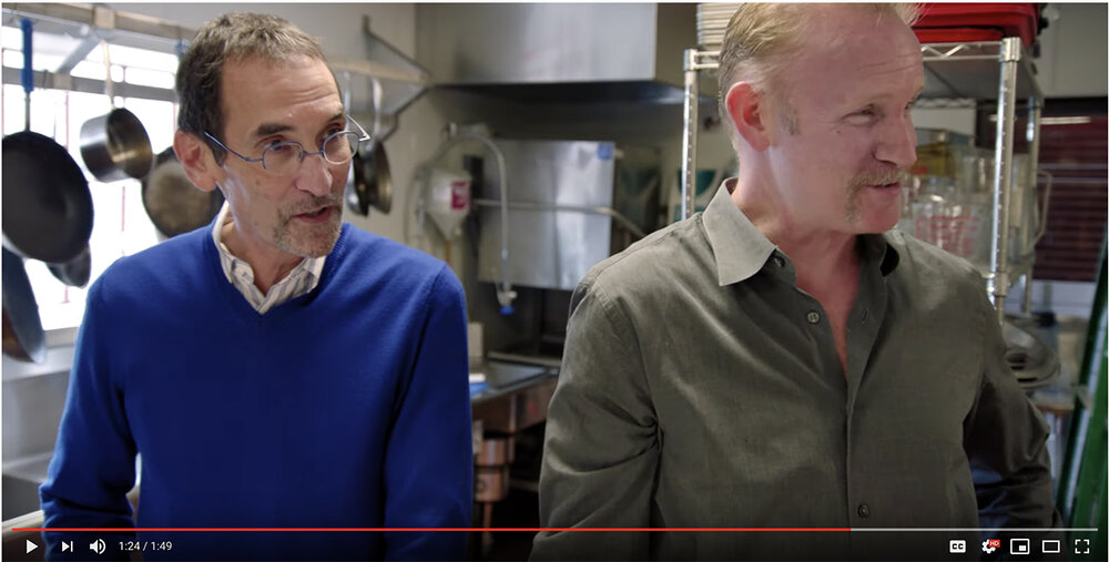CCD Innovation's CEO, Marc Halperin and Morgan Spurlock in CCDI's kitchen, ideating during a tasting.