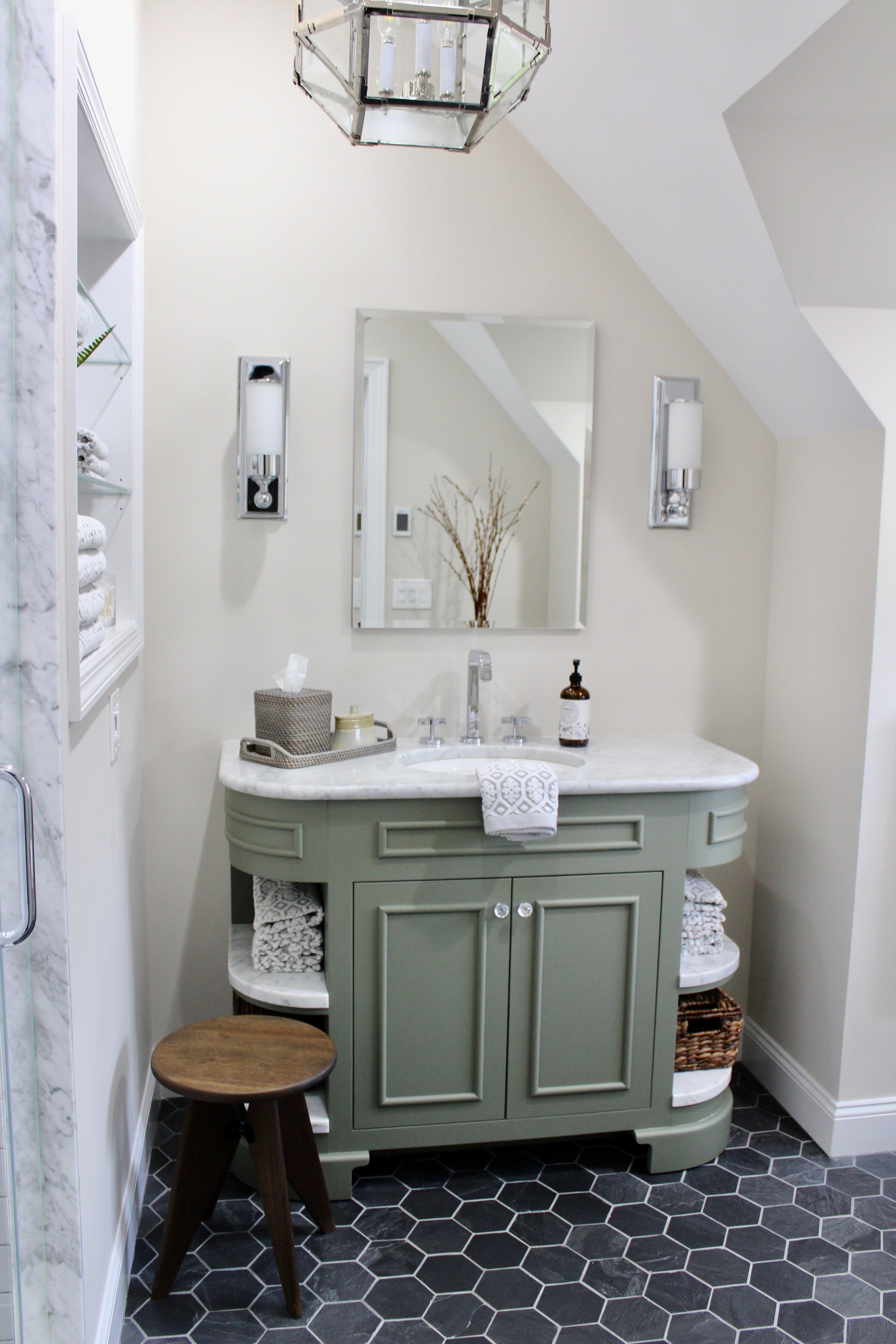 Green Vanity Carrara Marble Top