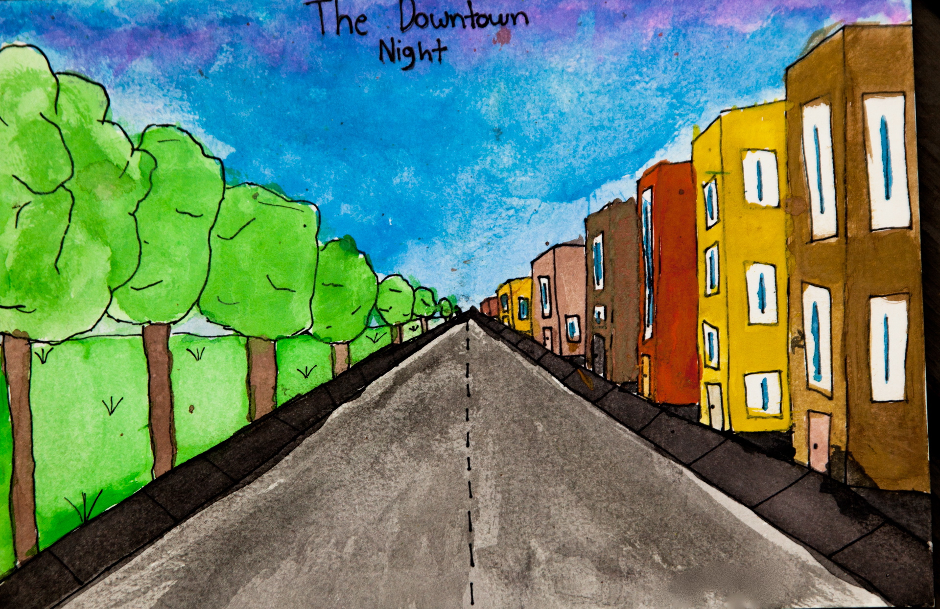 Grade 5~ City Scape, One Point Perspective  Watercolour, Pen & Ink