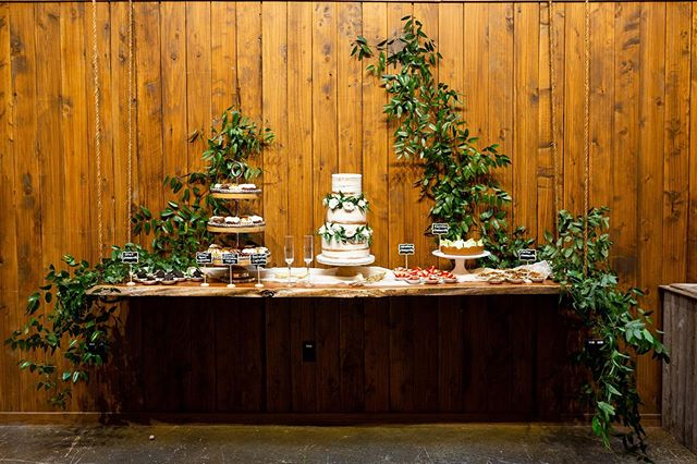 Favorite part of @theallenfarmhaus weddings you ask? - decorating the back wall... and the cake. ALL the cake. 😍