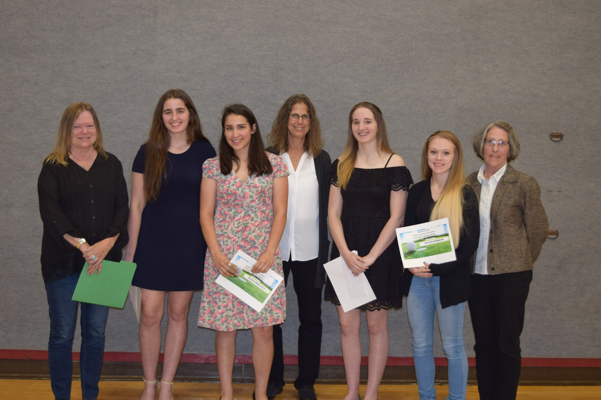 Awards Night at Neah-Kah-Nie High School  Left to right: Connie VanderWaal (Board member}, Alexandria Woodward, Alicia Cruz-Lilly, Beth Gienger (Board member), Brianna Woodward, Haylee Barbour, Sally Vanebo (Board member).