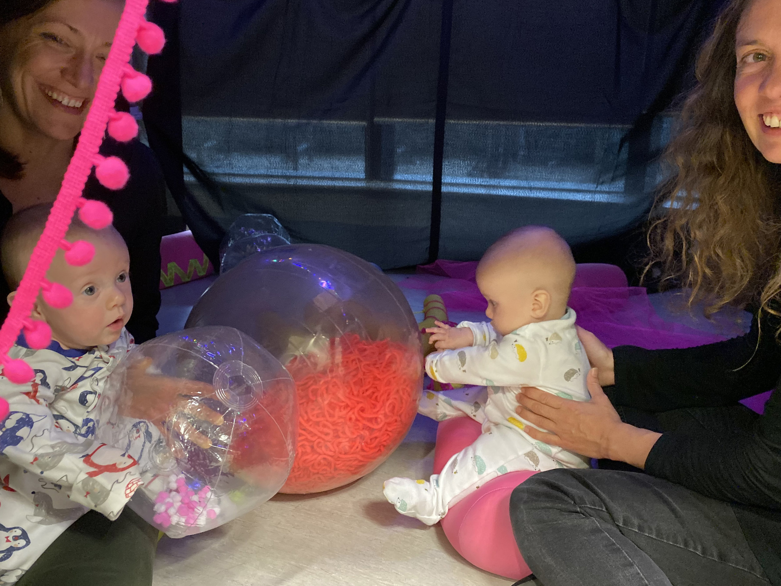Babies love giant organelles- Golgi and the nucleus are a hit with twin tots.