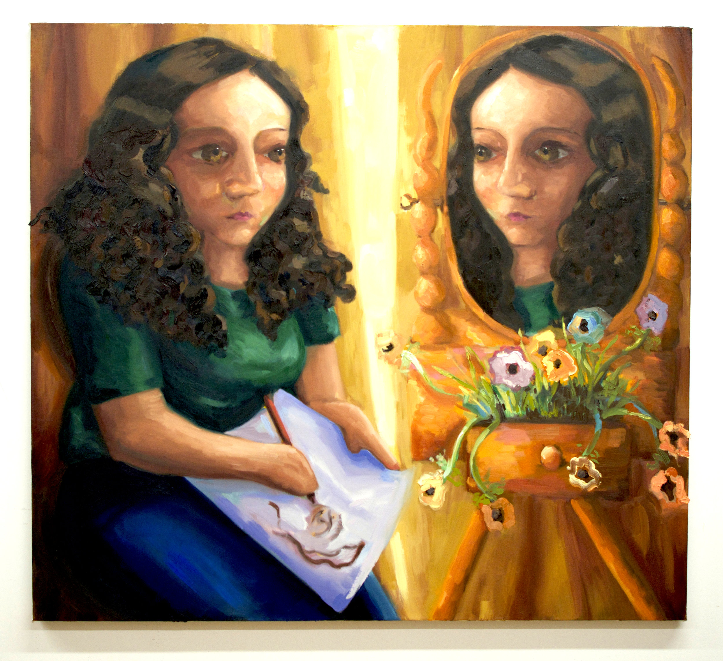 "Curtain (Self-portrait)    Oil on canvas  52"" x 47"""