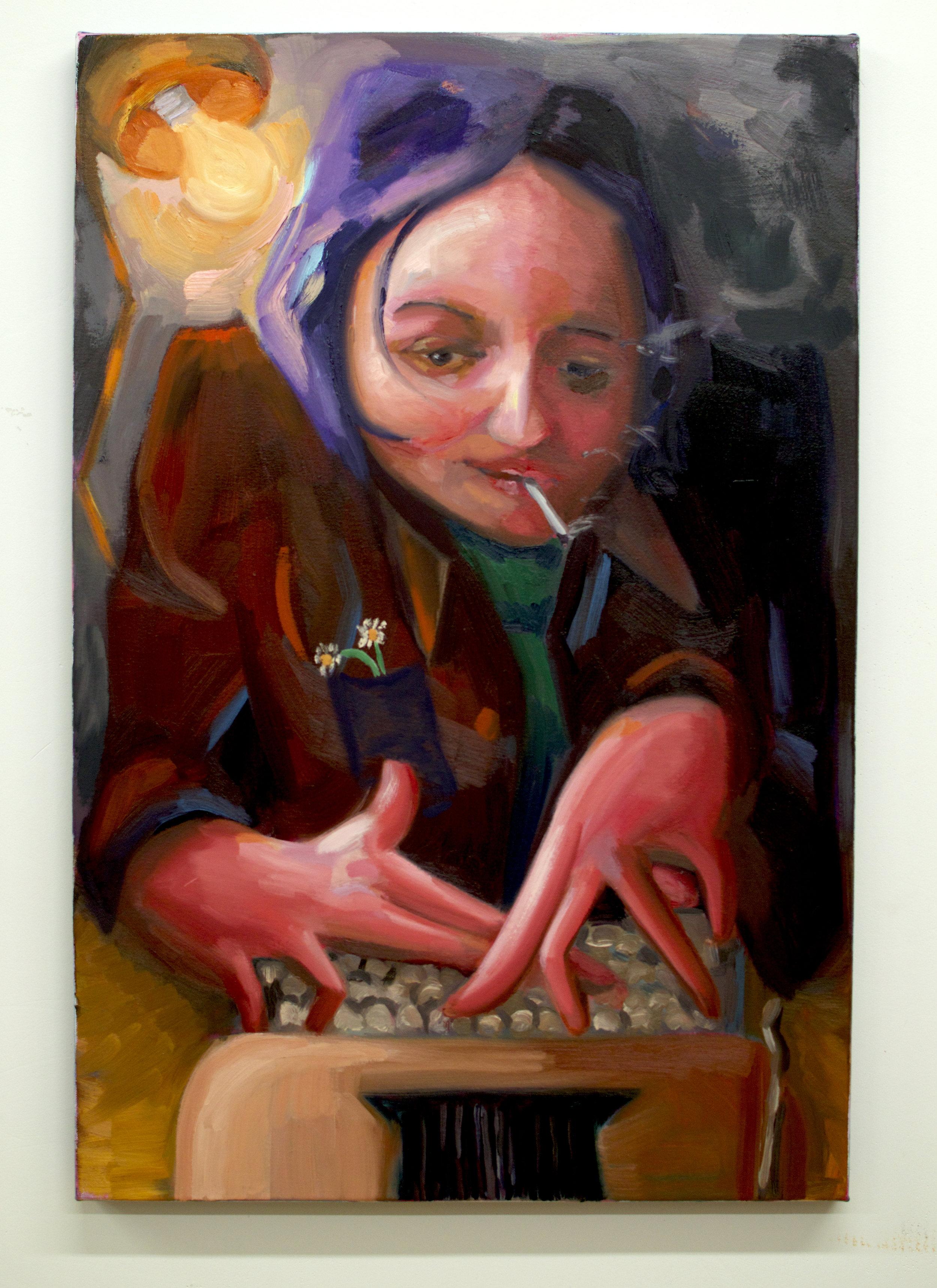 """Night Writer    Oil on canvas  36"""" 24"""""""