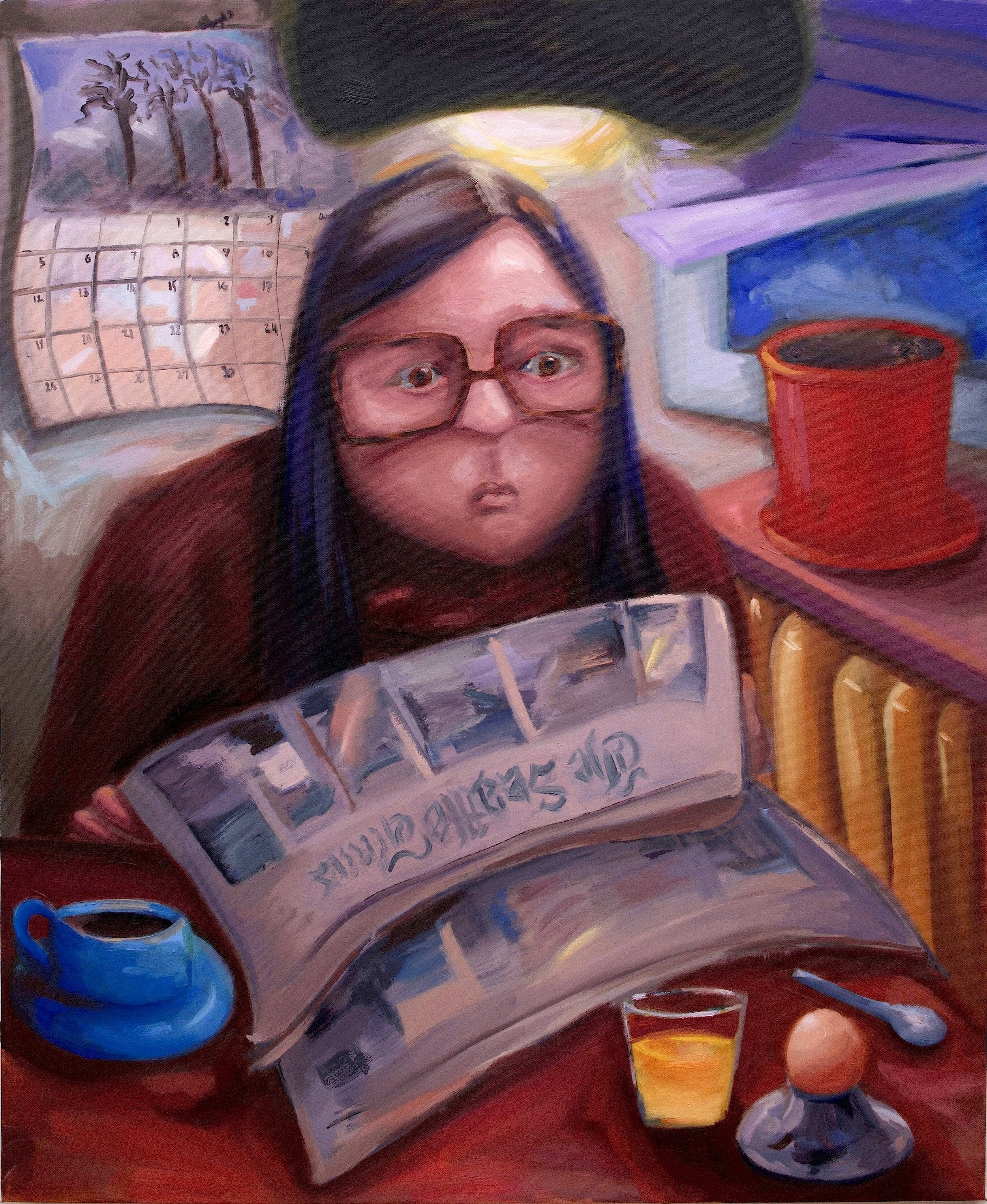 """November (Reading your own obituary)    Oil on canvas  44"""" x 36"""""""