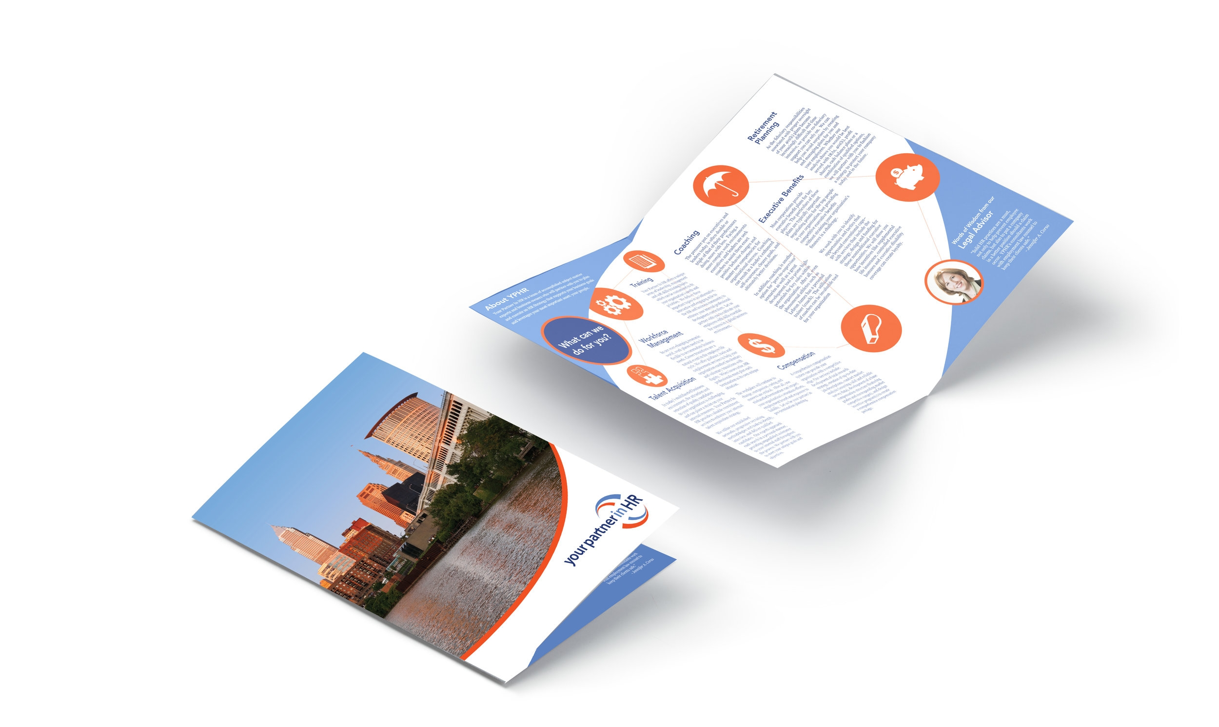 Capabilities brochure for Your Partner in HR. (Design by Leah Backo)