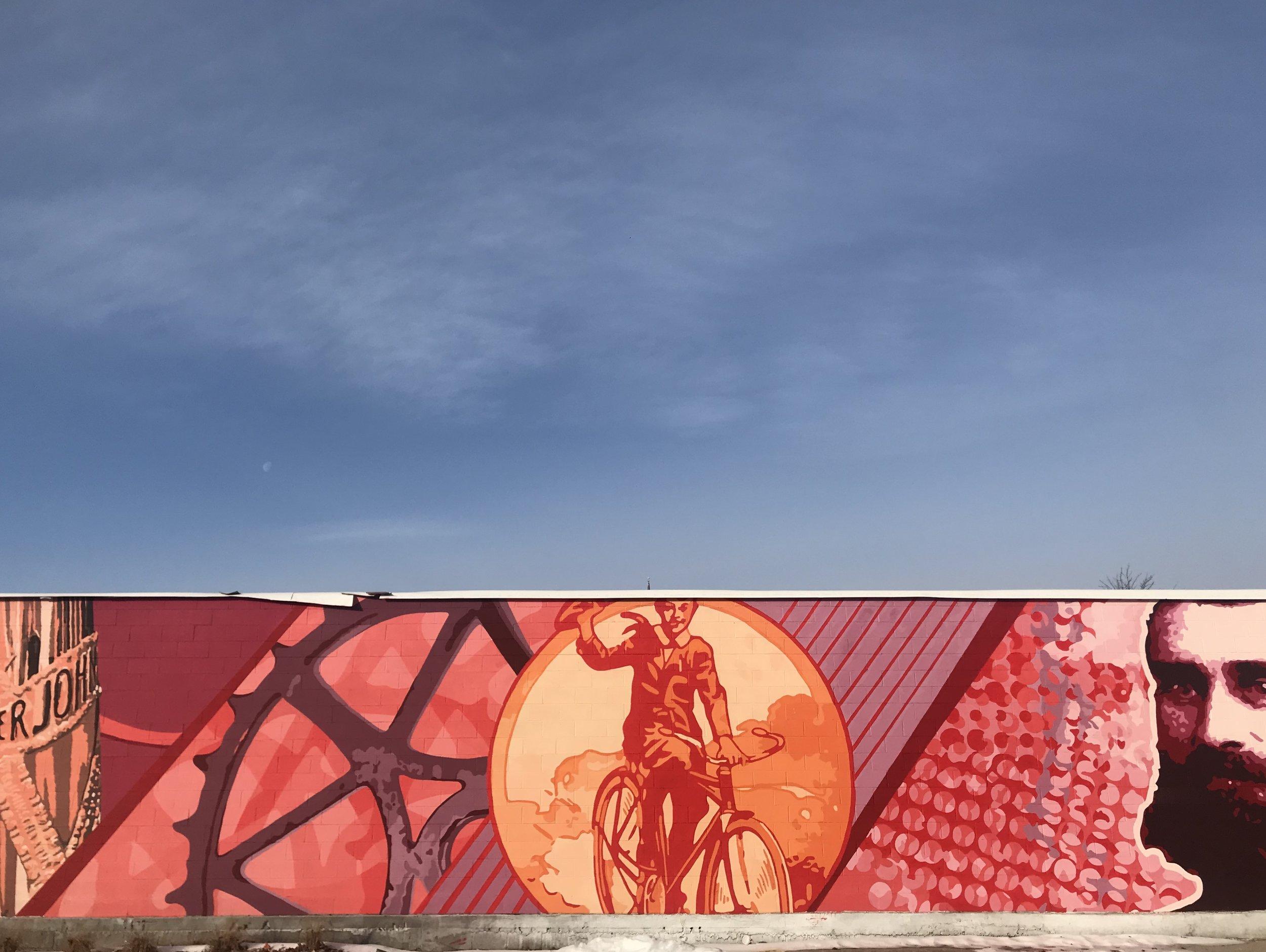 Iver Johnson mural in full view