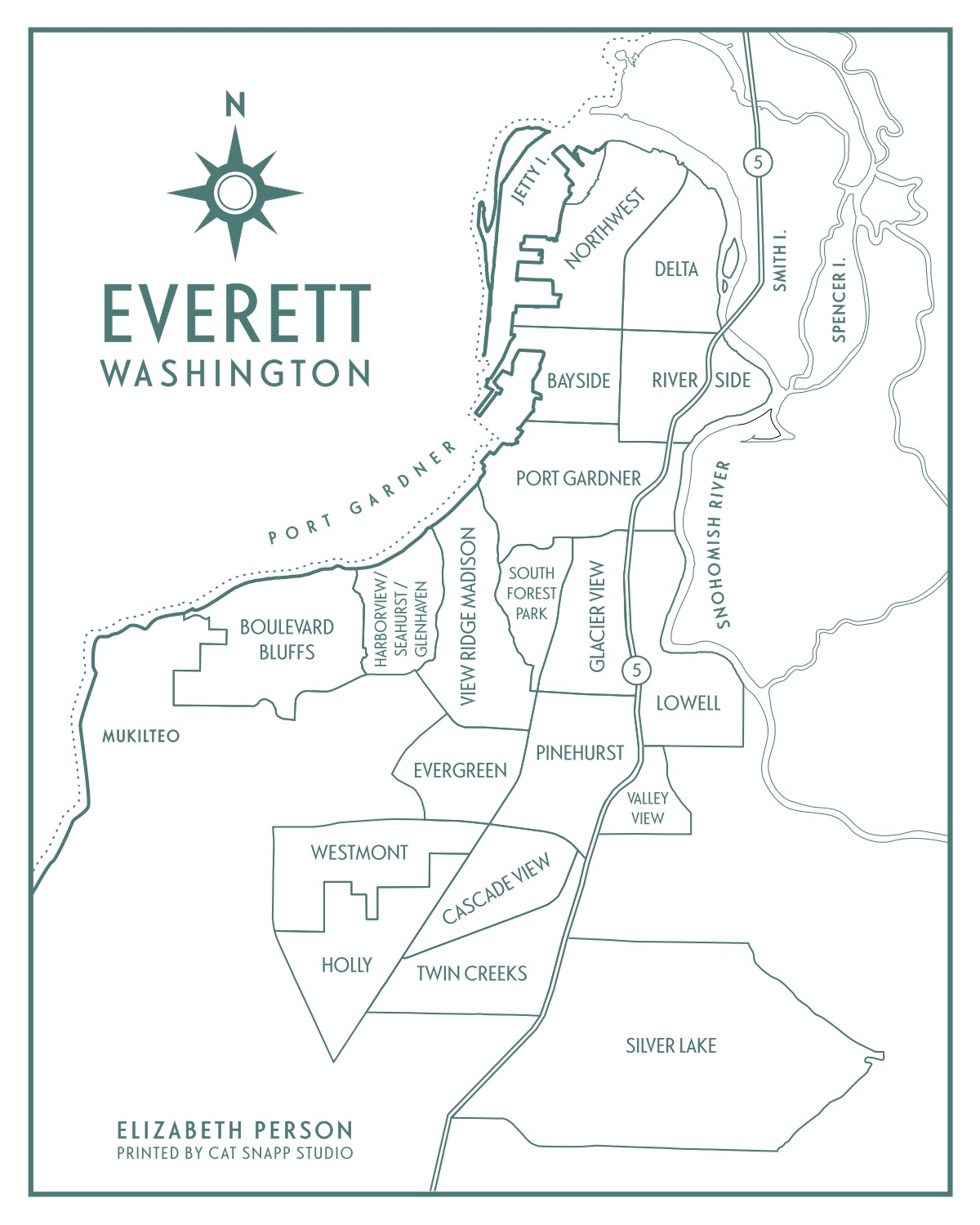 Everett Neighborhood Map by  Elizabeth Person Art & Design .