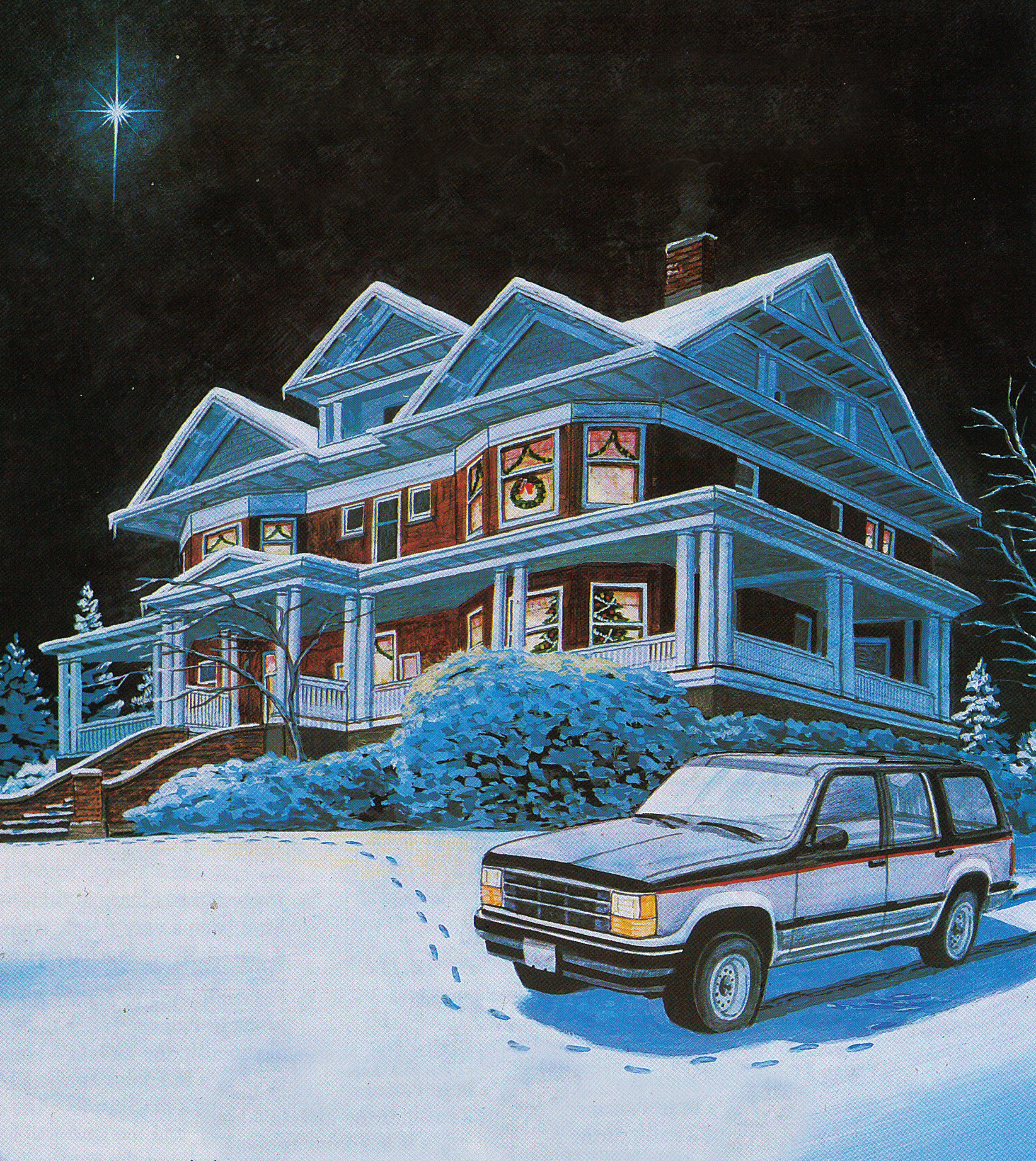 A painting Barb had commissioned of the Rucker Mansion back in the 1990s. The mansion still looks the same (see the first image of this article which was taken in 2019), but Barb does not drive a Ford Explorer anymore.