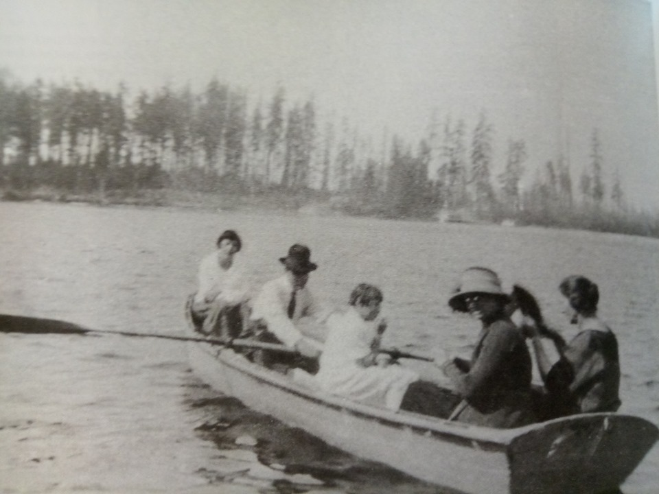 The McClain family canoeing on Silver Lake, 1925