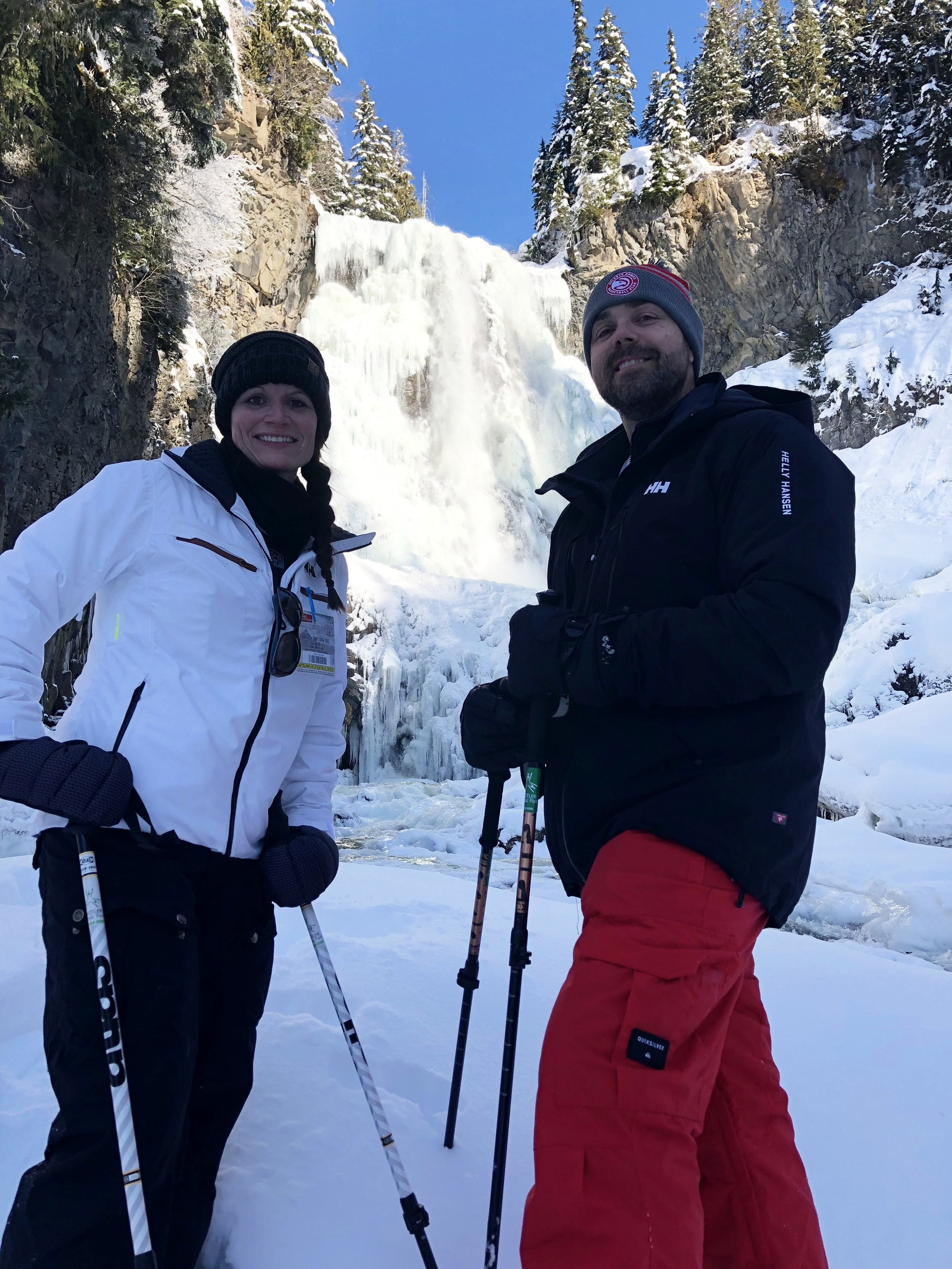 Truly an adventure when we happened upon a snowshoe guide in British Columbia. Trekked to this frozen waterfall in deep untouched powder.