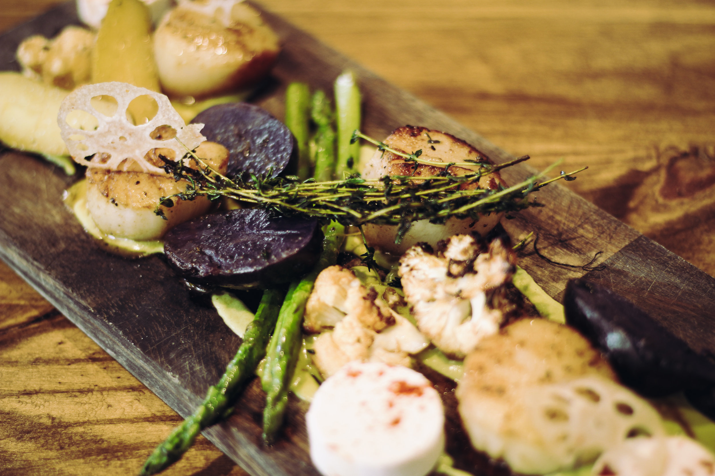 Asparagus, beets, cauliflower and fingerling potatoes sautéed to perfection, garnished with fresh herbs and lotus.