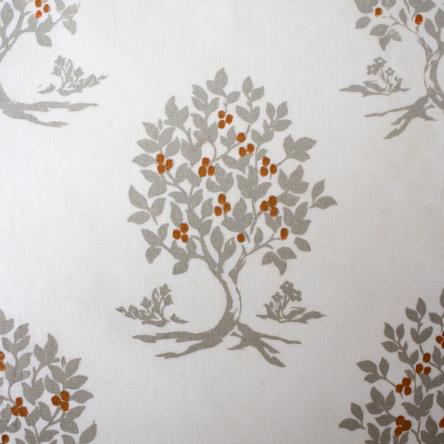 """Persimmon Tree"" hand printed on Belgian Linen"