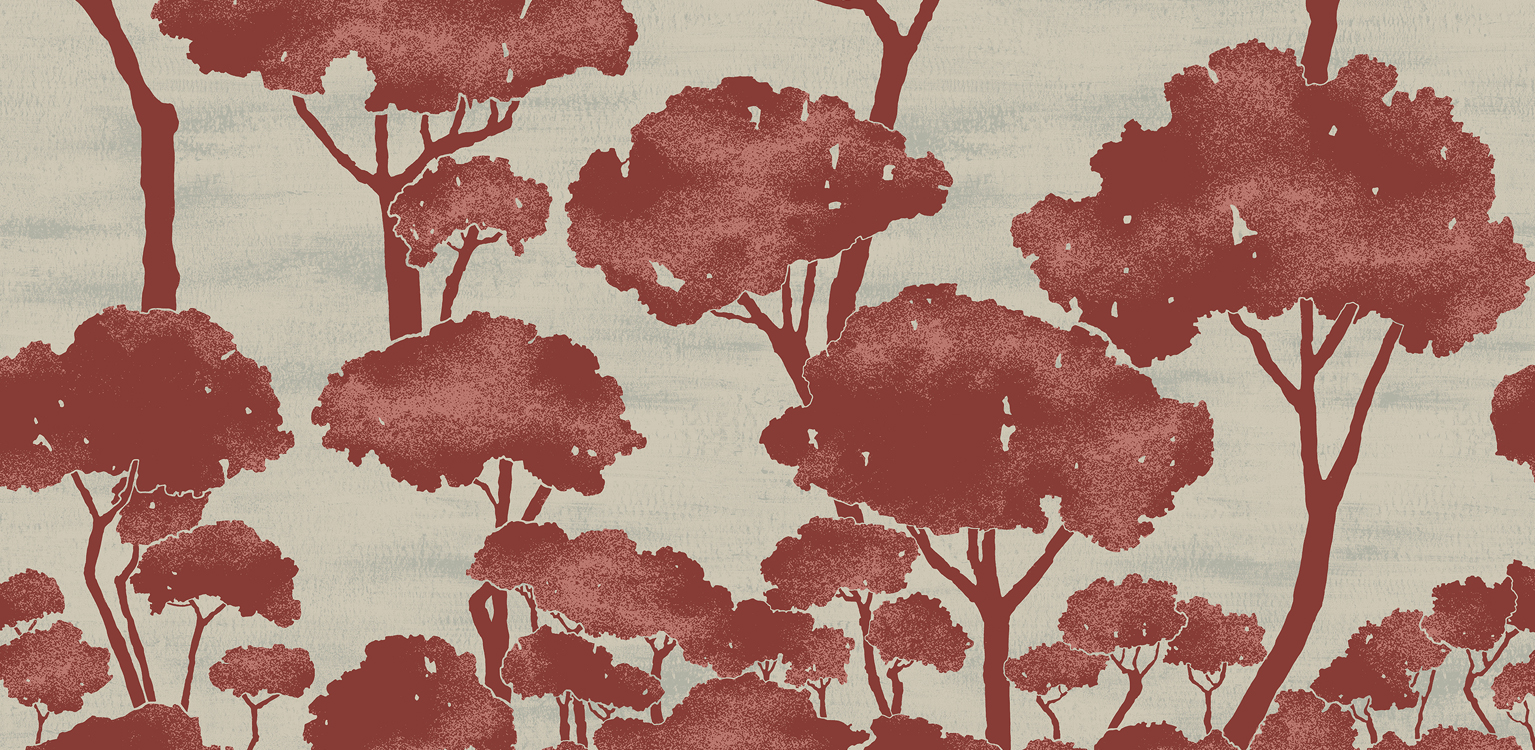 """""""Pini"""" printed on fabric and wallpaper in four colorways."""