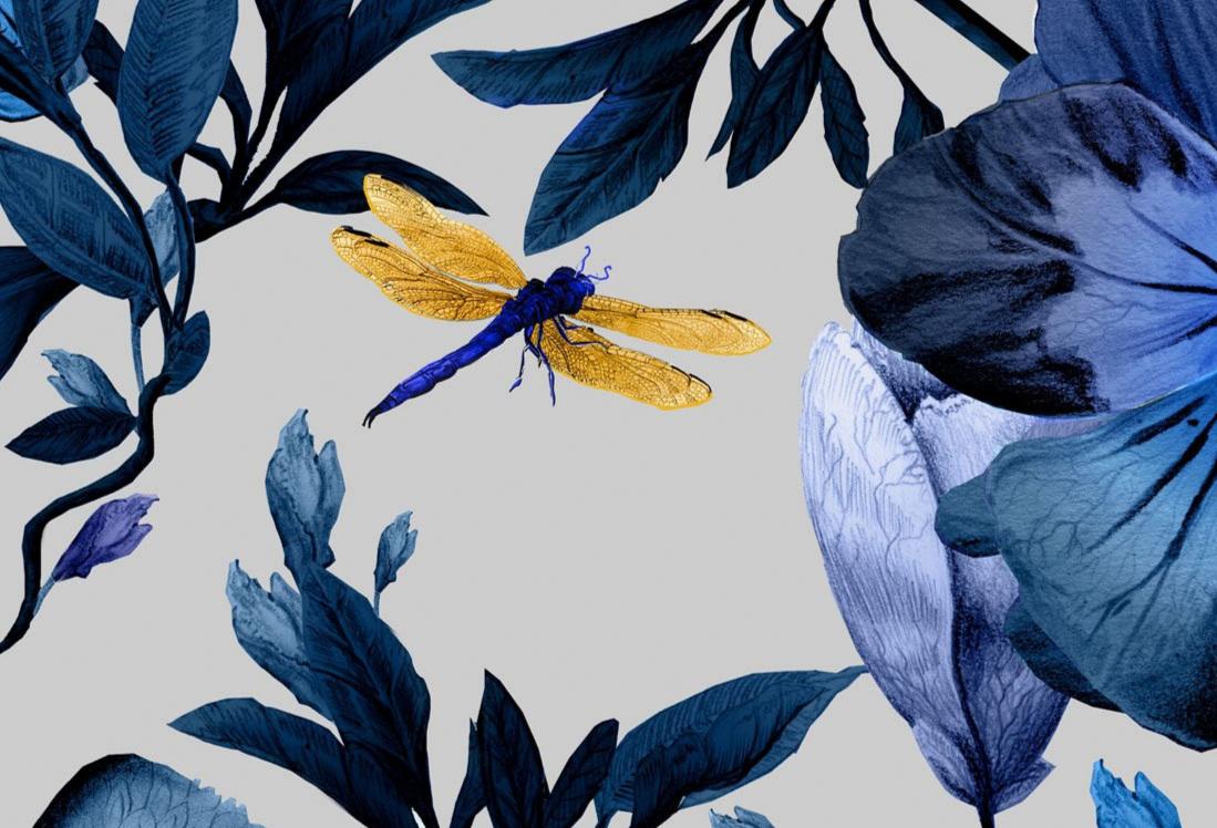 """""""Biophilia"""" wallpaper and fabric in Indigo"""