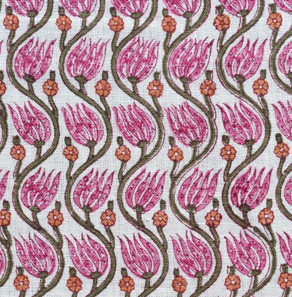 "Hand block printed ""Tulip Vine"" on hand woven linen"